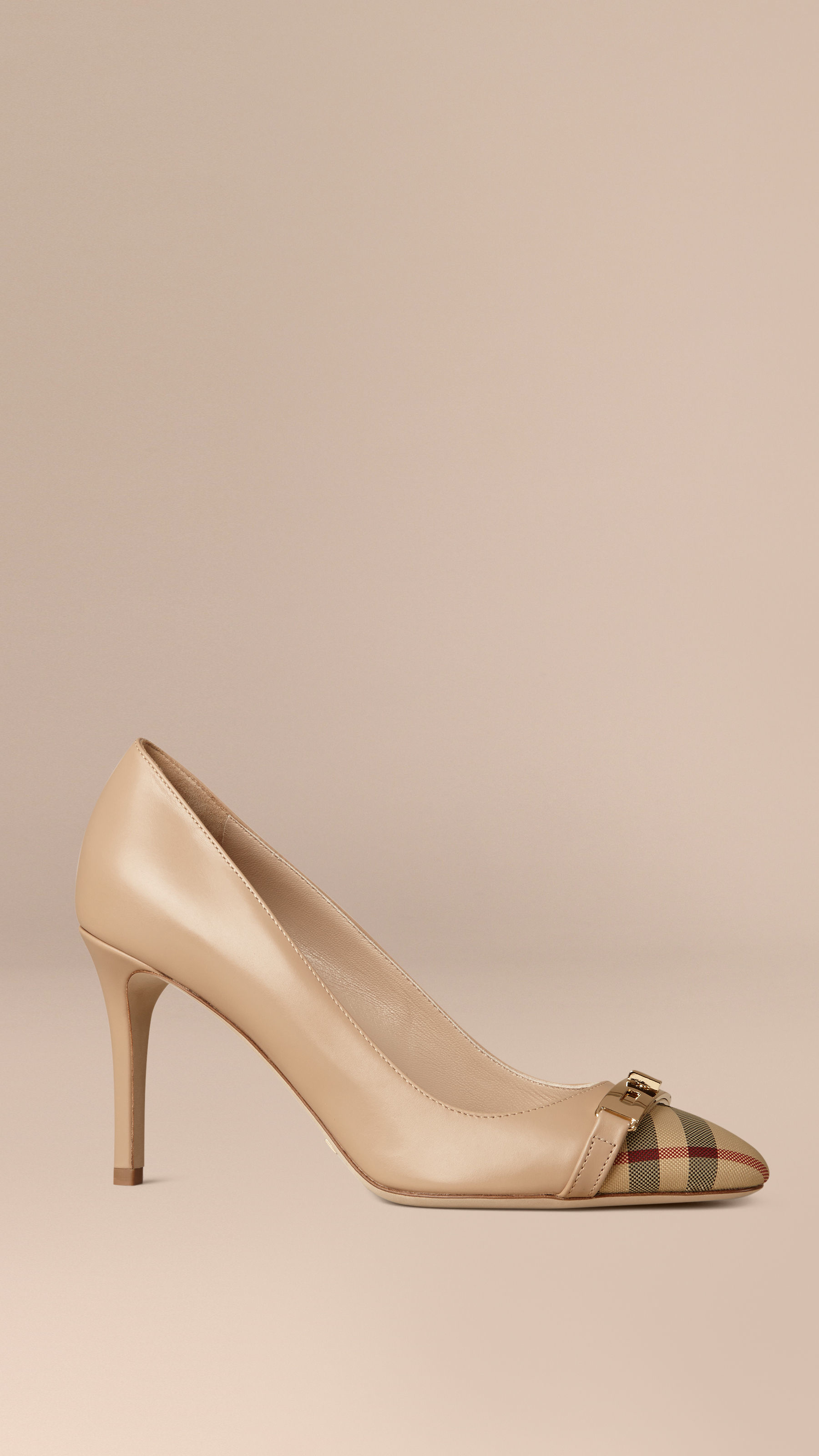 73e0f3274a Burberry Horseferry Check Leather Pumps Light Nude in Natural - Lyst