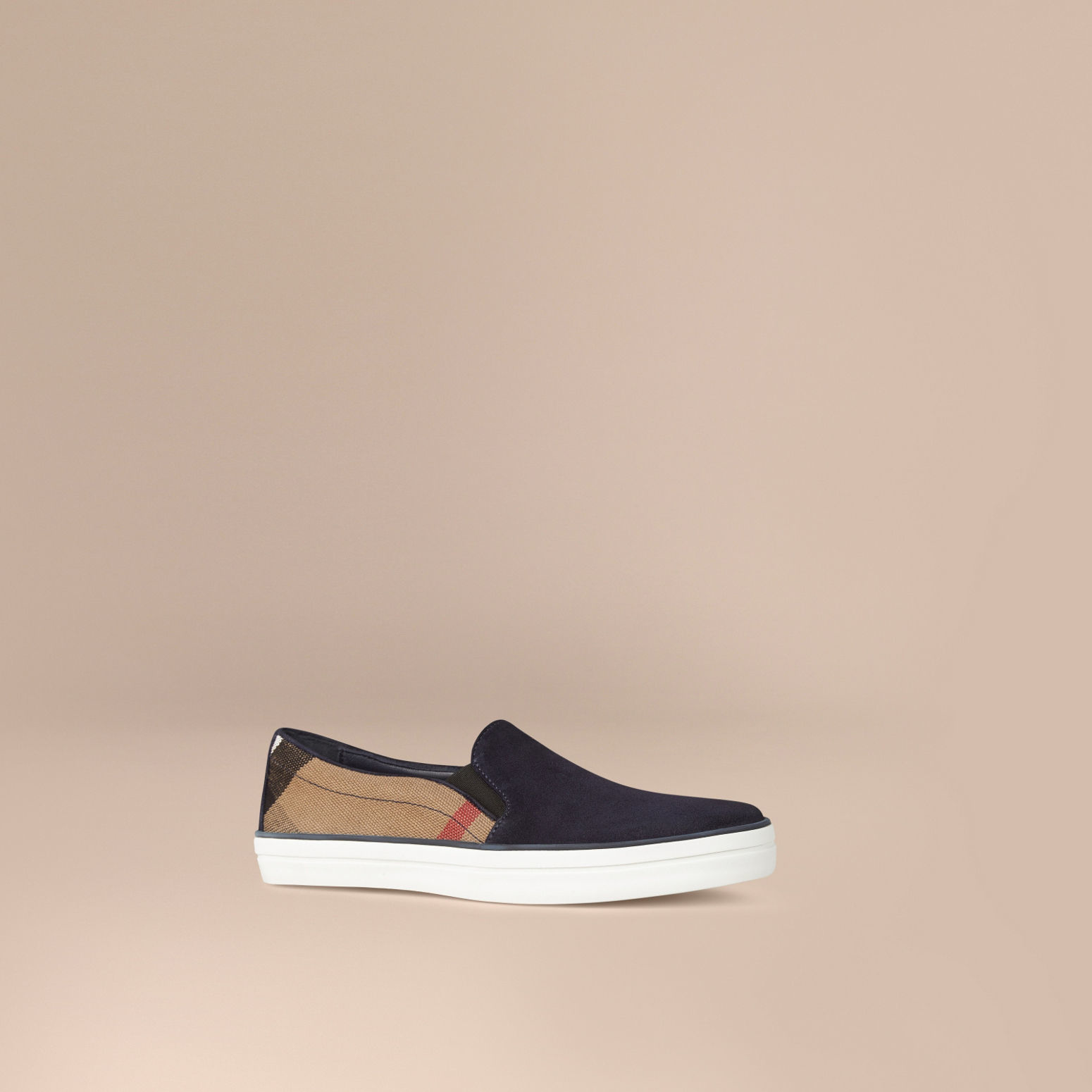 burberry canvas check and suede slip on trainers navy in