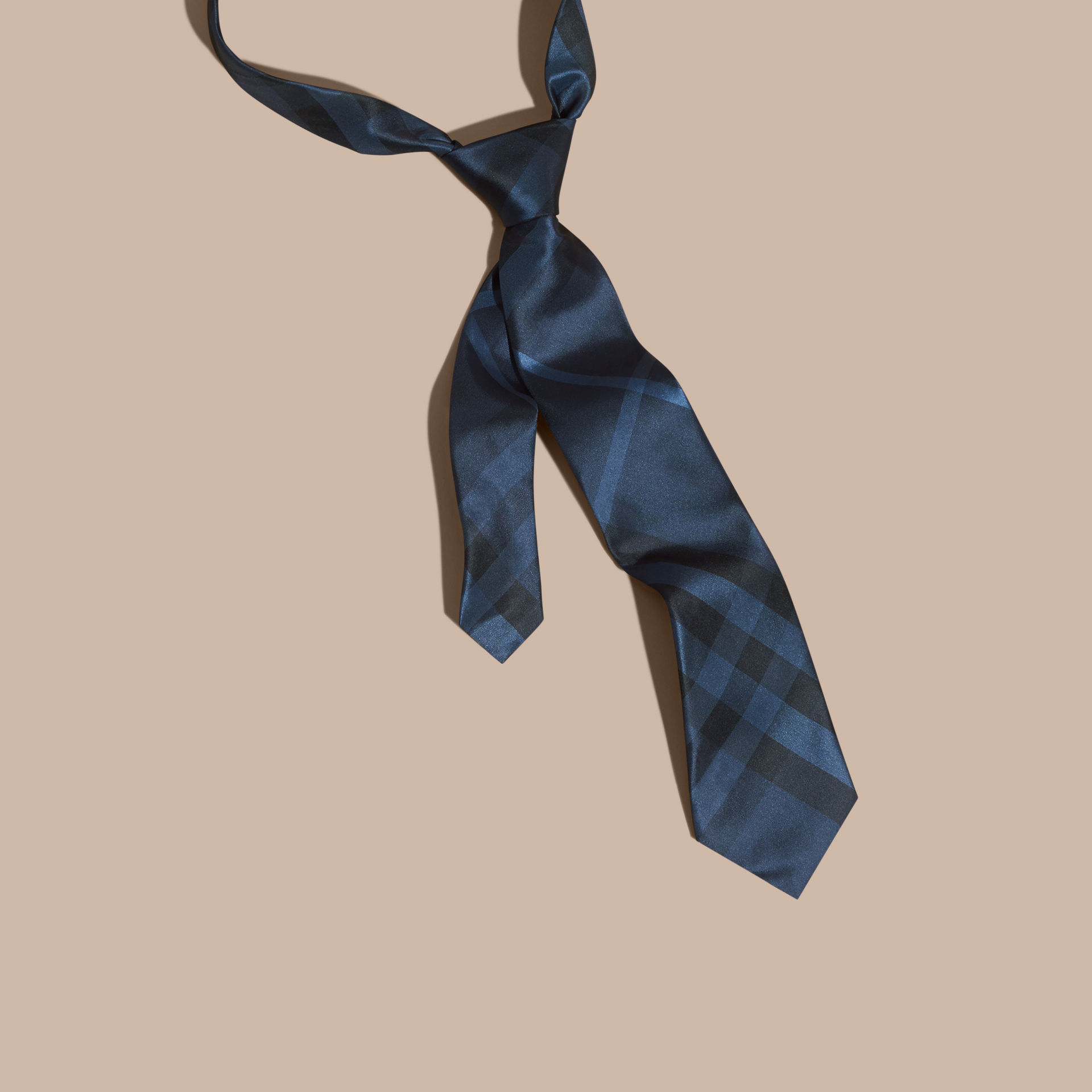 burberry classic cut check silk tie navy in blue for
