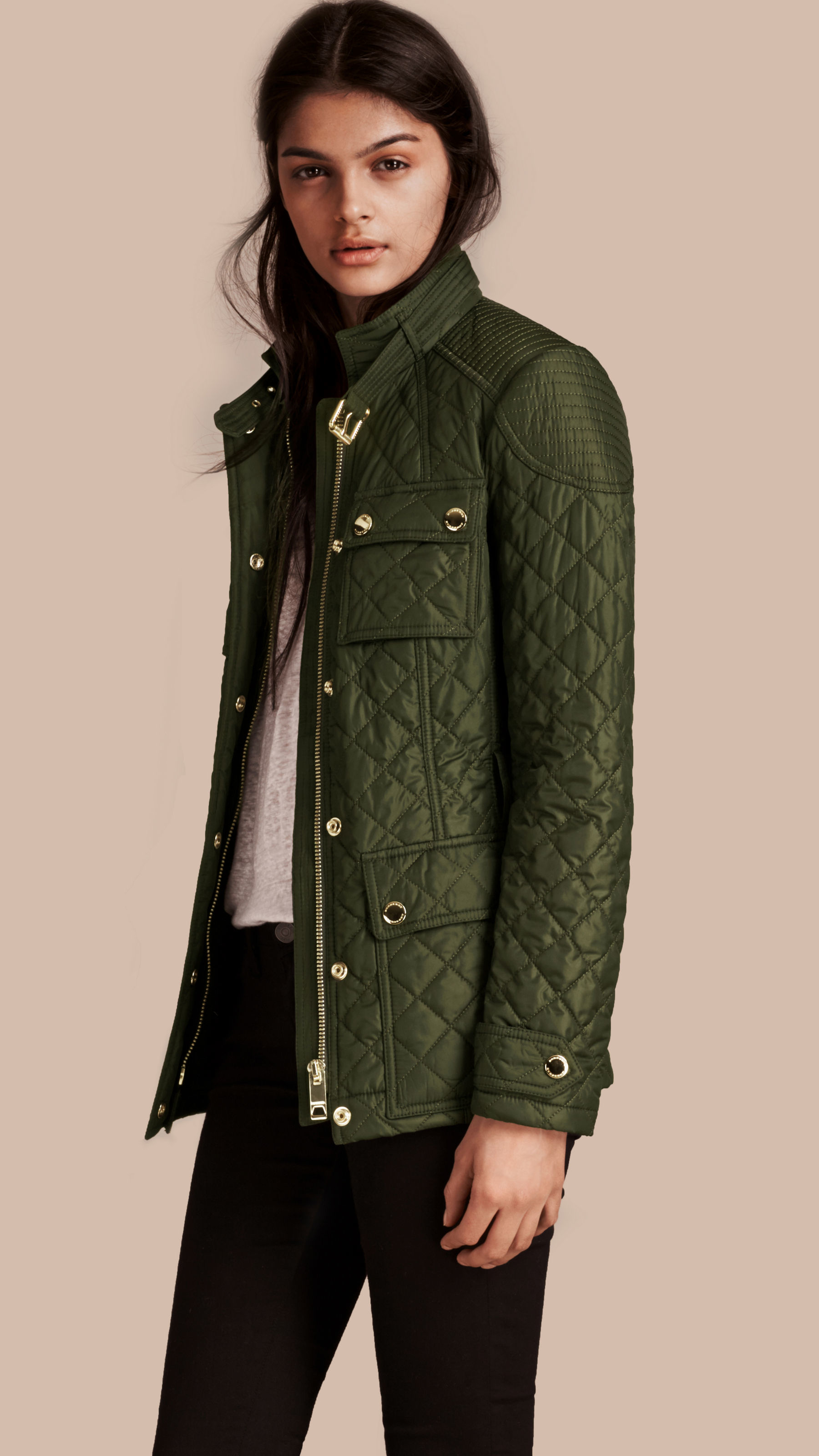 Burberry Diamond Quilted Field Jacket With Panel Detail In