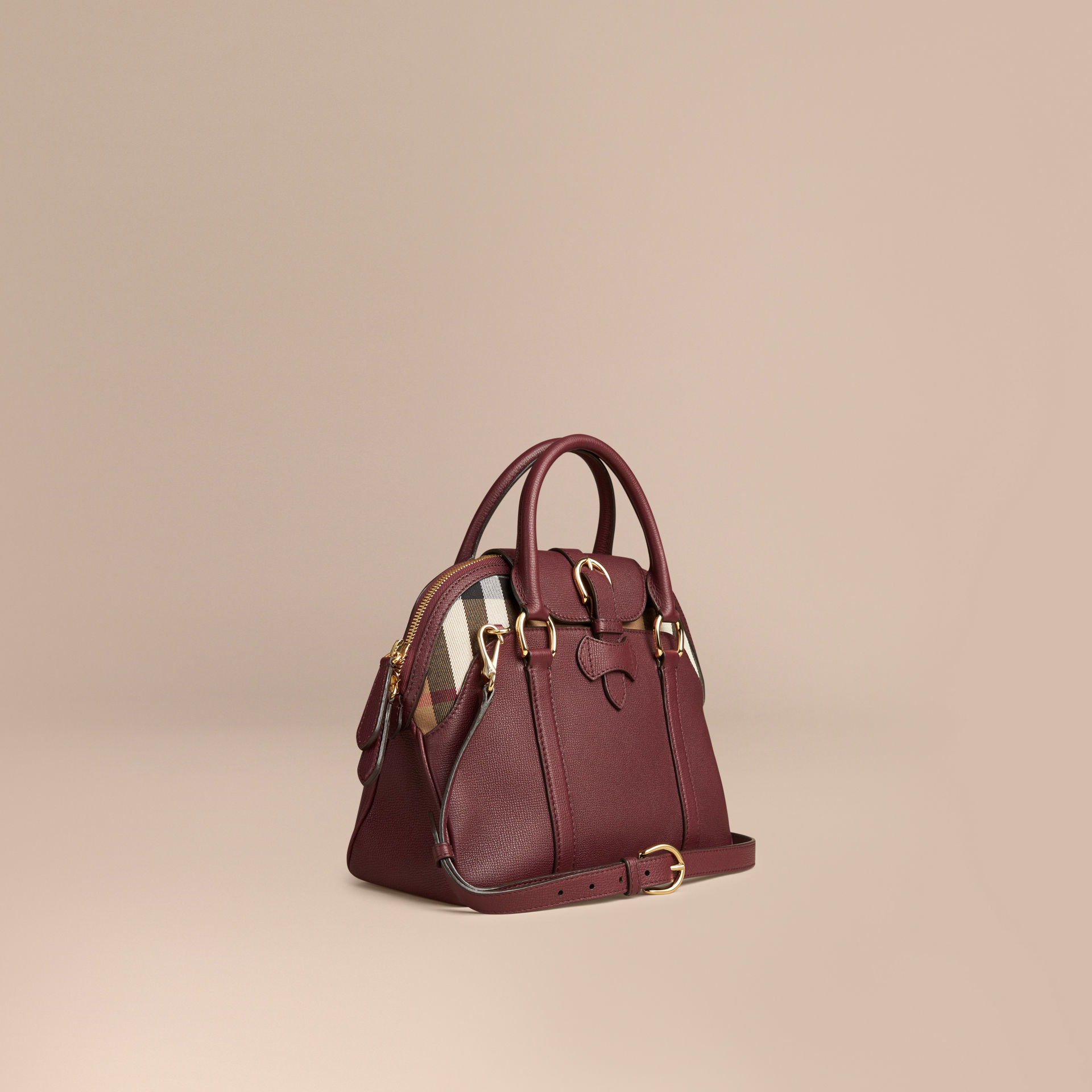 5875011d4cbf Burberry Medium Leather And House Check Bowling Bag Mahogany Red in ...