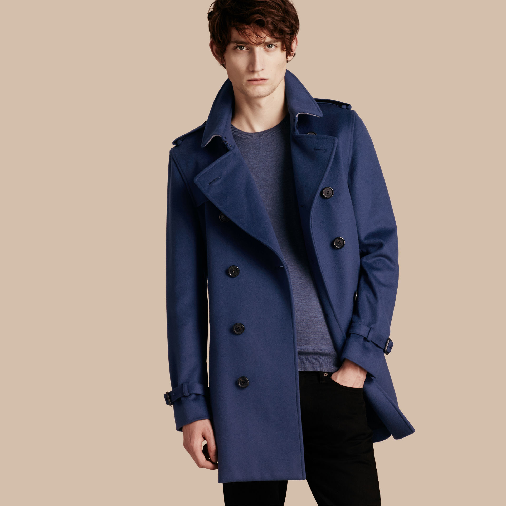 2a1fd0746 Lyst - Burberry Wool Cashmere Trench Coat in Blue for Men