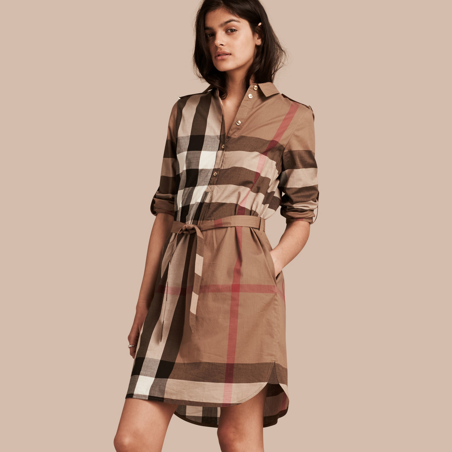 Burberry Check Cotton Shirt Dress Taupe Brown In Brown