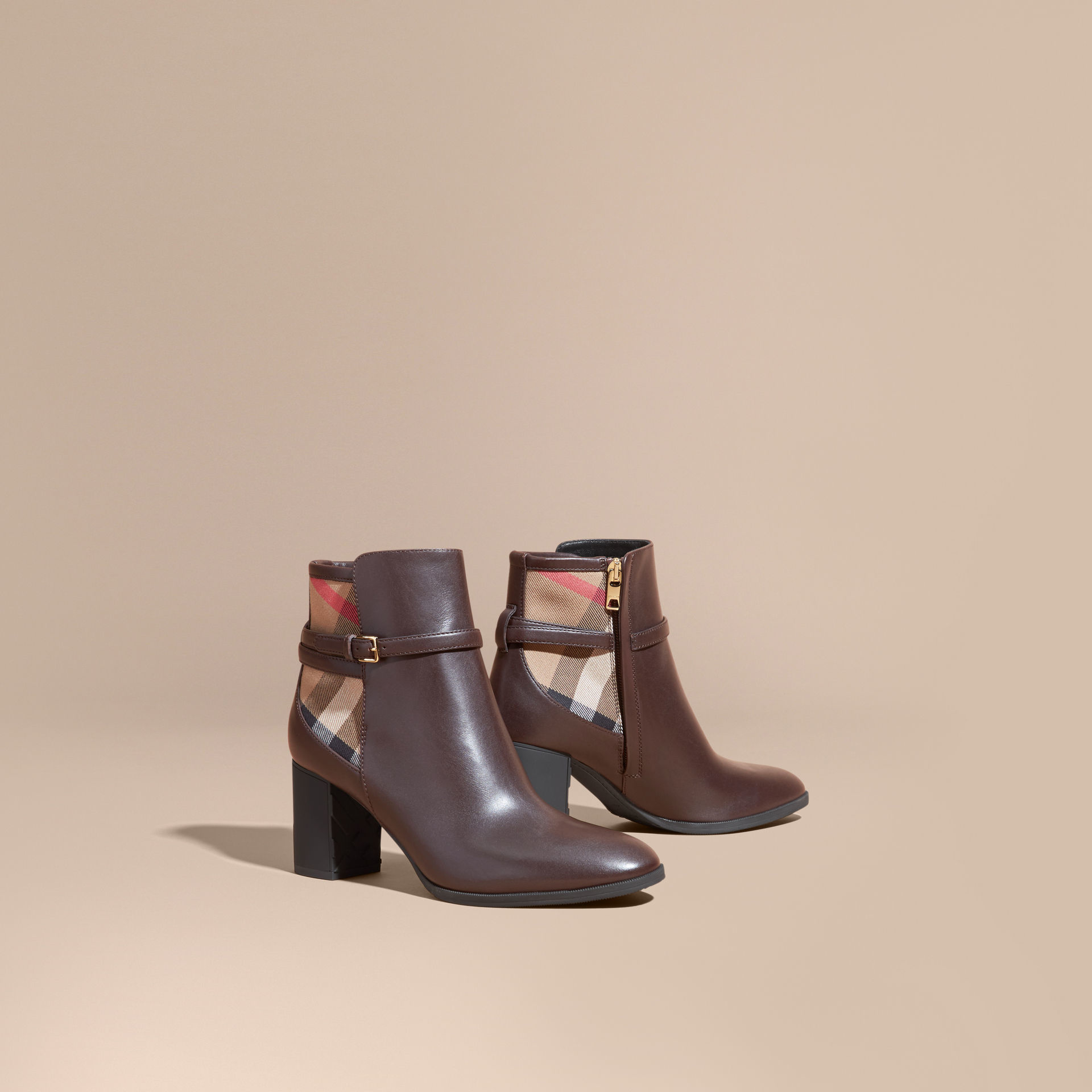 Burberry House Check And Leather Ankle Boots In Brown Lyst