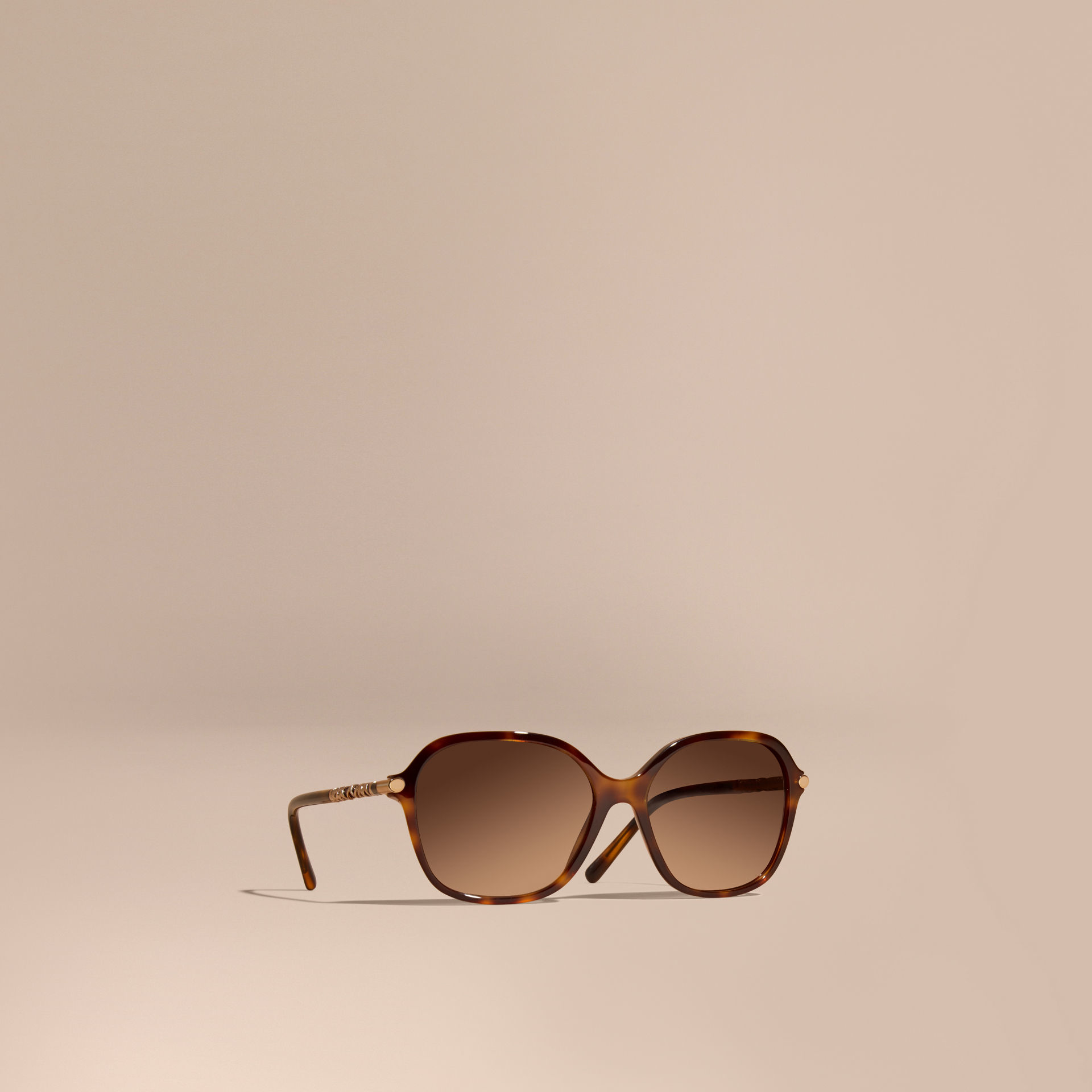0a23005a1bf Lyst - Burberry Check Detail Round Frame Sunglasses Light Russet ...