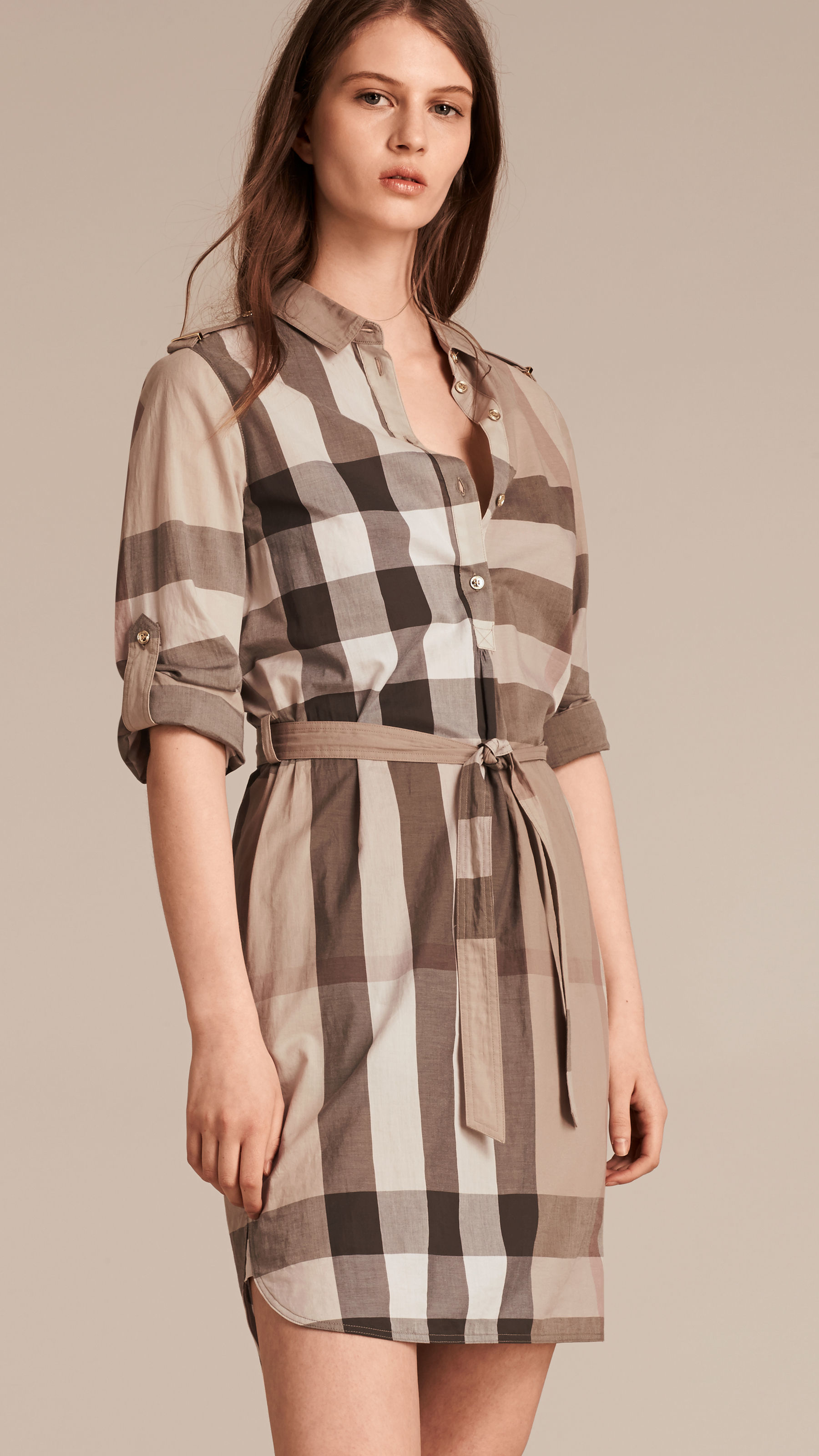 Lyst Burberry Check Cotton Shirt Dress Pale Stone In Natural