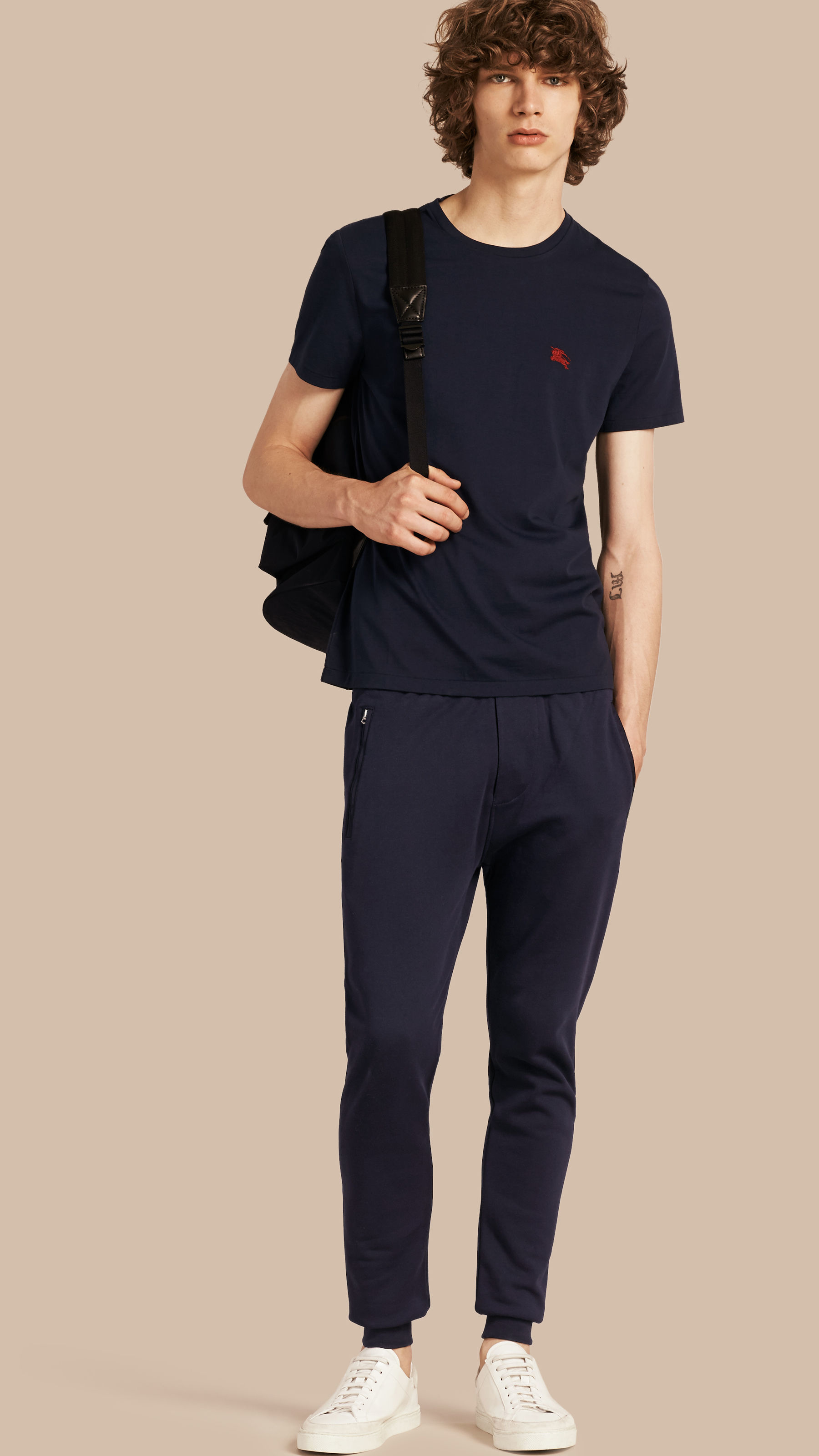 Burberry Cotton Sweat Pants Navy In Blue For Men Lyst