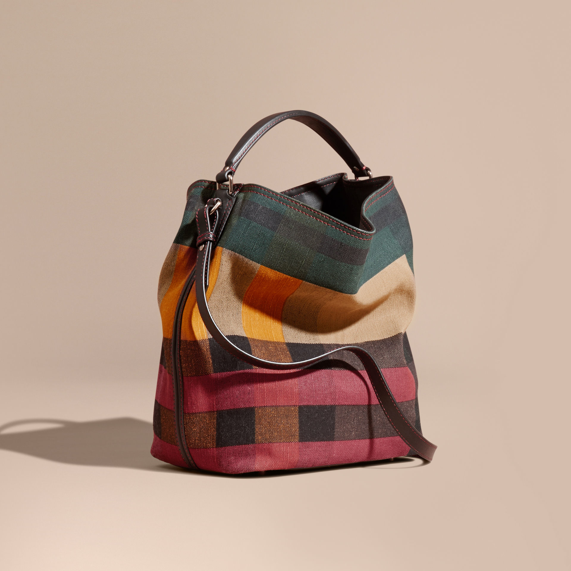 Lyst - Burberry The Medium Ashby In Printed Canvas Check And Leather 892a1a99d3121