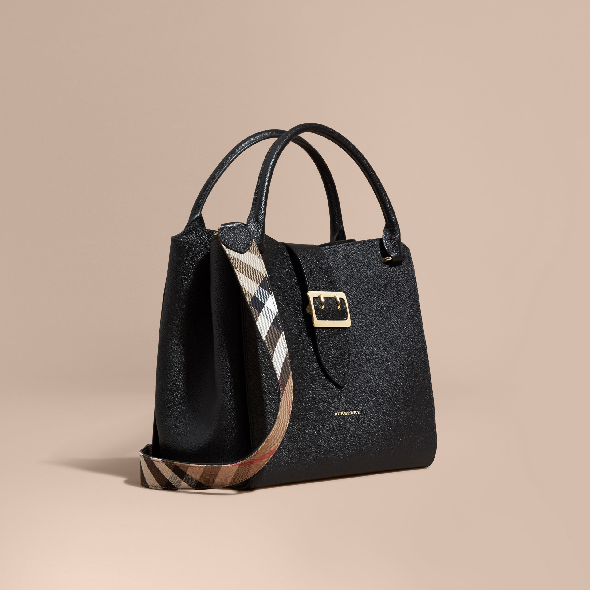 0b43464486ab Lyst - Burberry The Large Buckle Tote In Grainy Leather Black in Black
