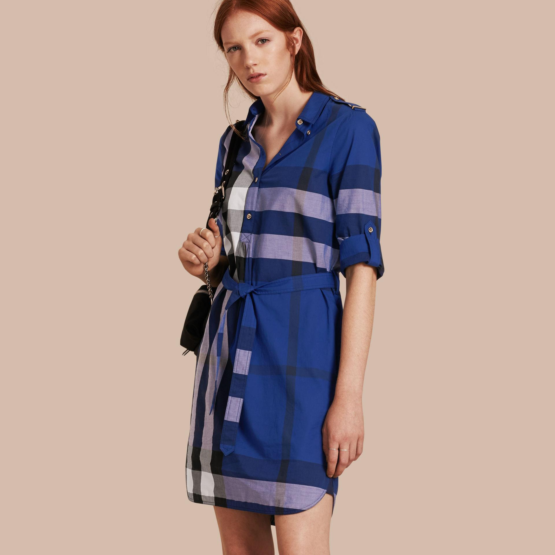 Lyst Burberry 39 House Check 39 Shirt Dress In Blue