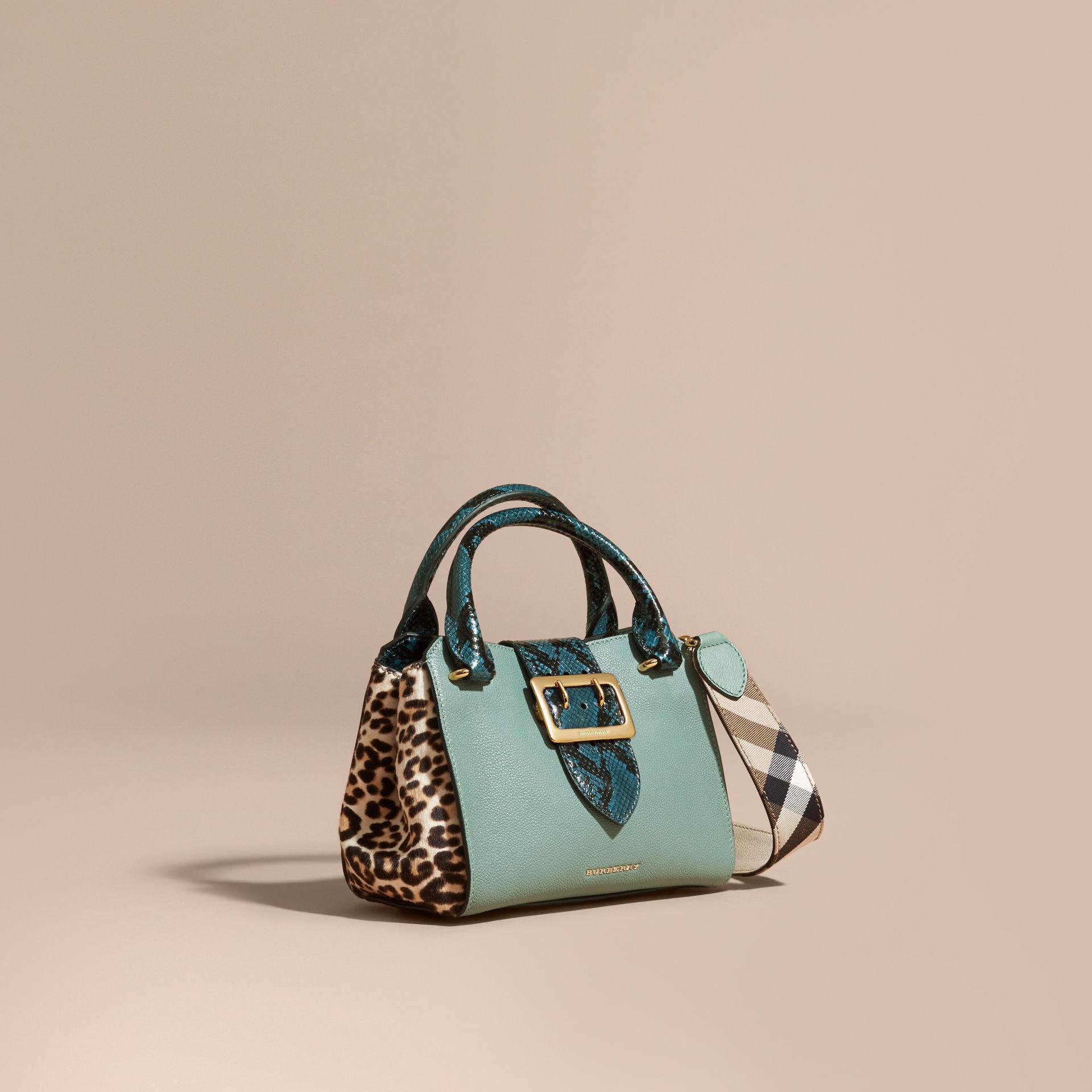 738695d70b8f Lyst - Burberry The Small Buckle Tote In Leather And Leopard-print ...