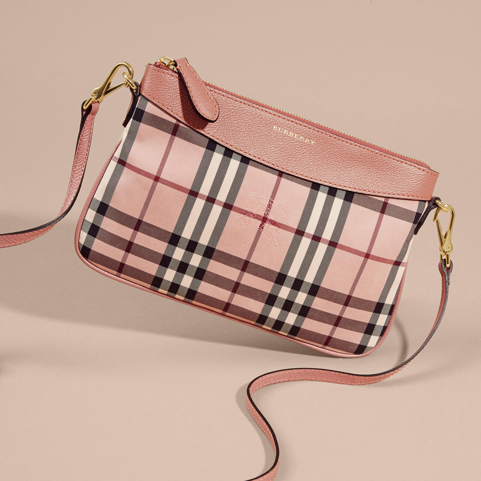 95caea345a2f21 Lyst - Burberry Horseferry Check And Leather Clutch Bag Ash Rose/ Dusty  Pink in Pink