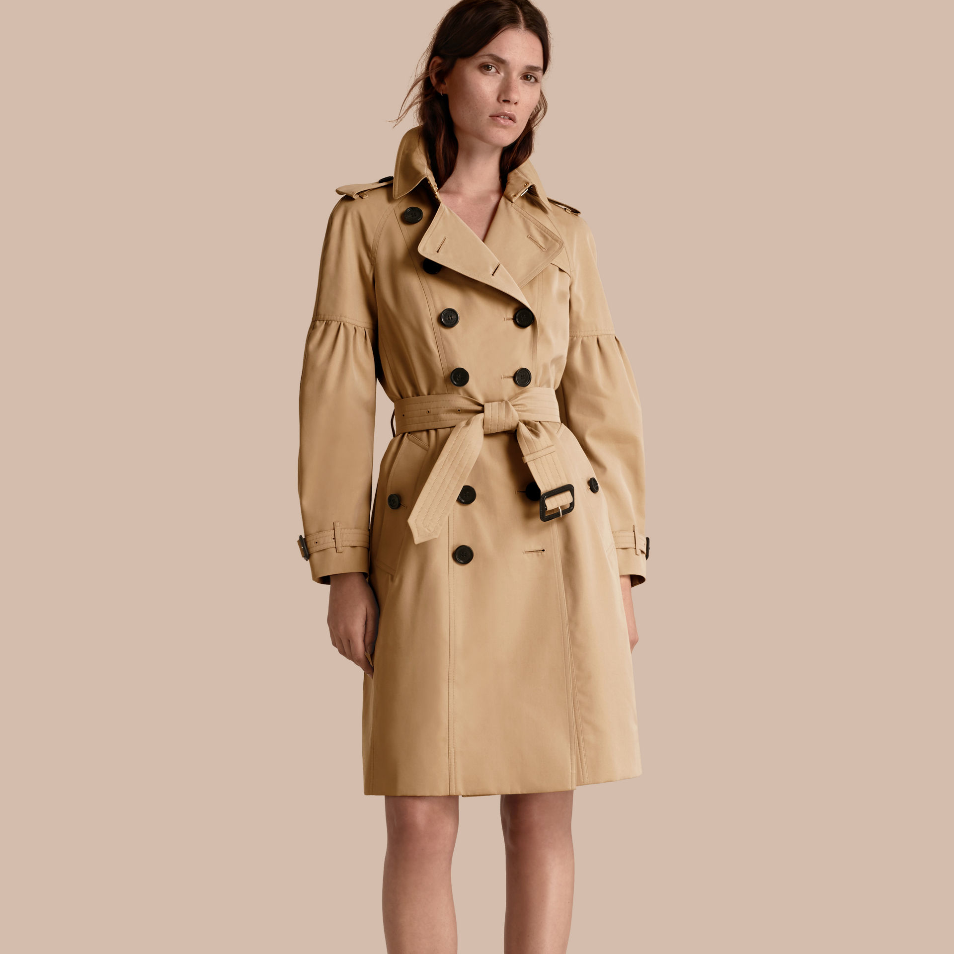 burberry cotton gabardine trench coat with puff sleeves in blue lyst. Black Bedroom Furniture Sets. Home Design Ideas