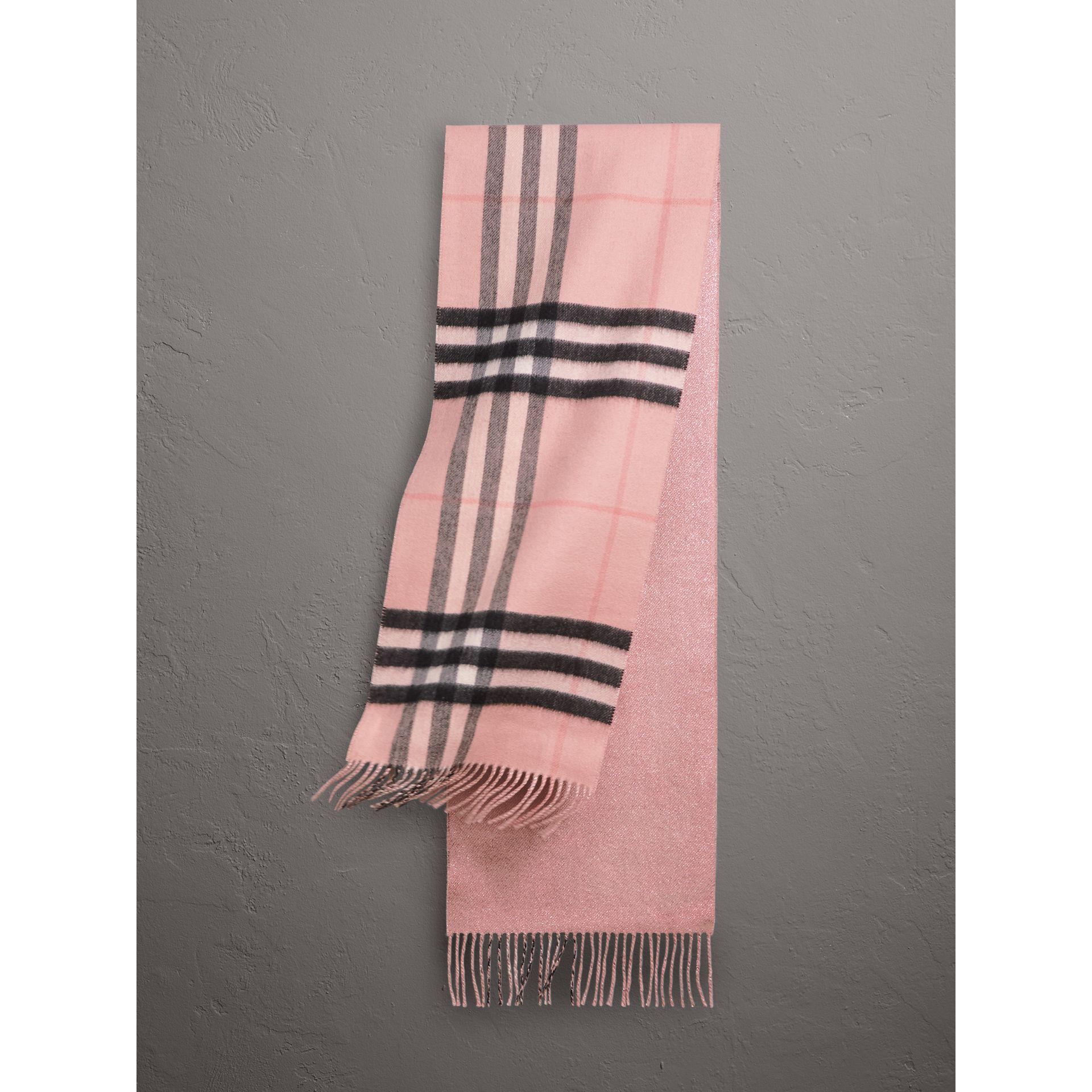 daa61d897f Burberry Reversible Metallic Check Cashmere Scarf Rose - Lyst