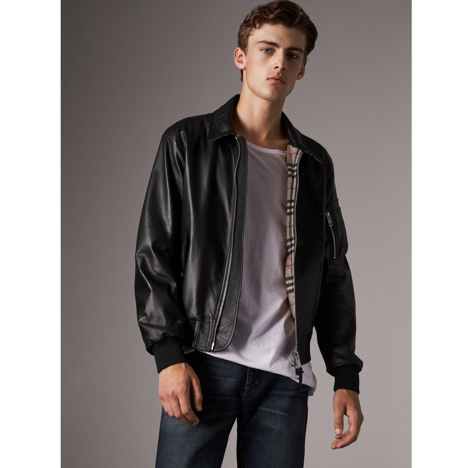 Lyst Burberry Point Collar Lambskin Bomber Jacket In