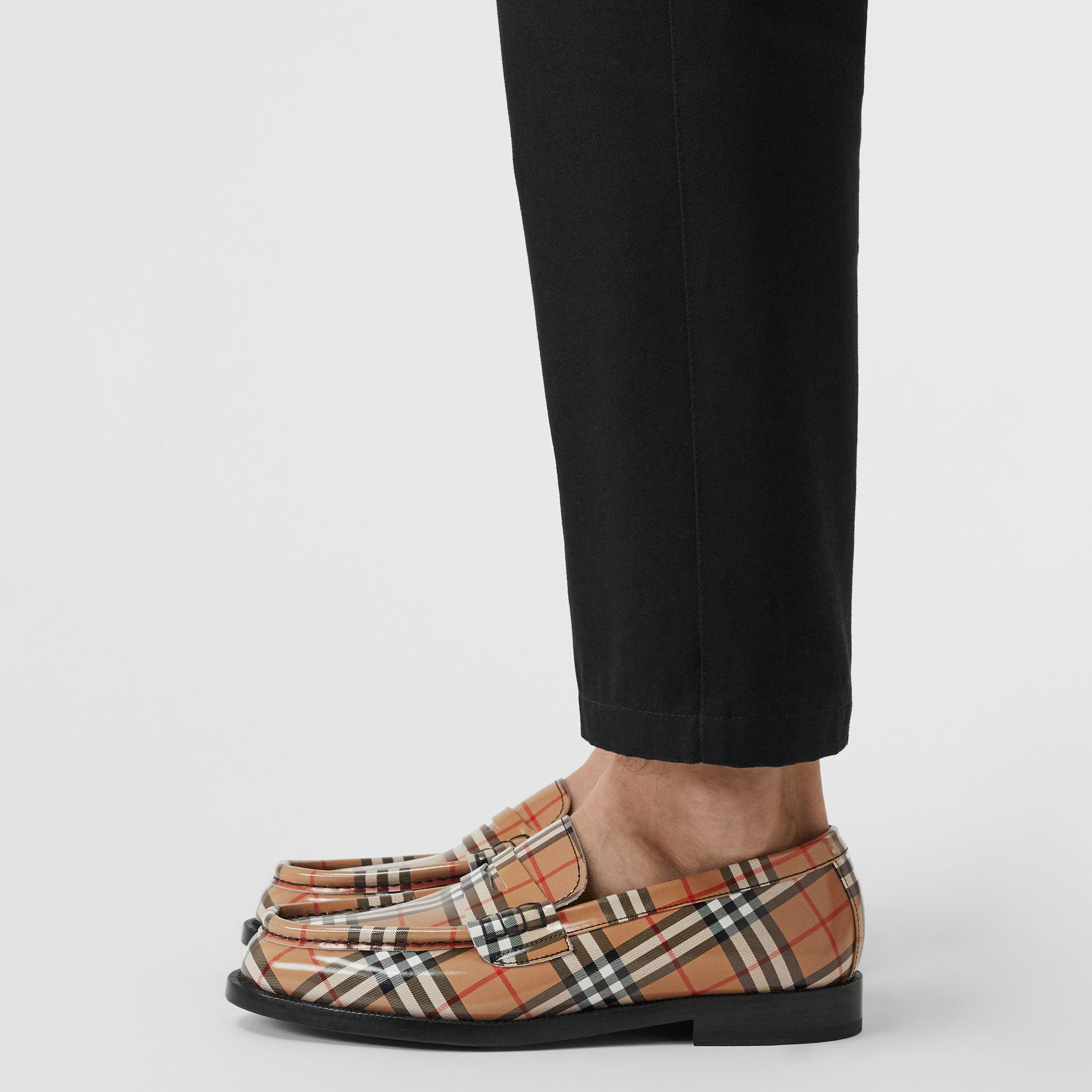 ef97f311d Lyst - Burberry Gosha X Check Leather Loafers for Men