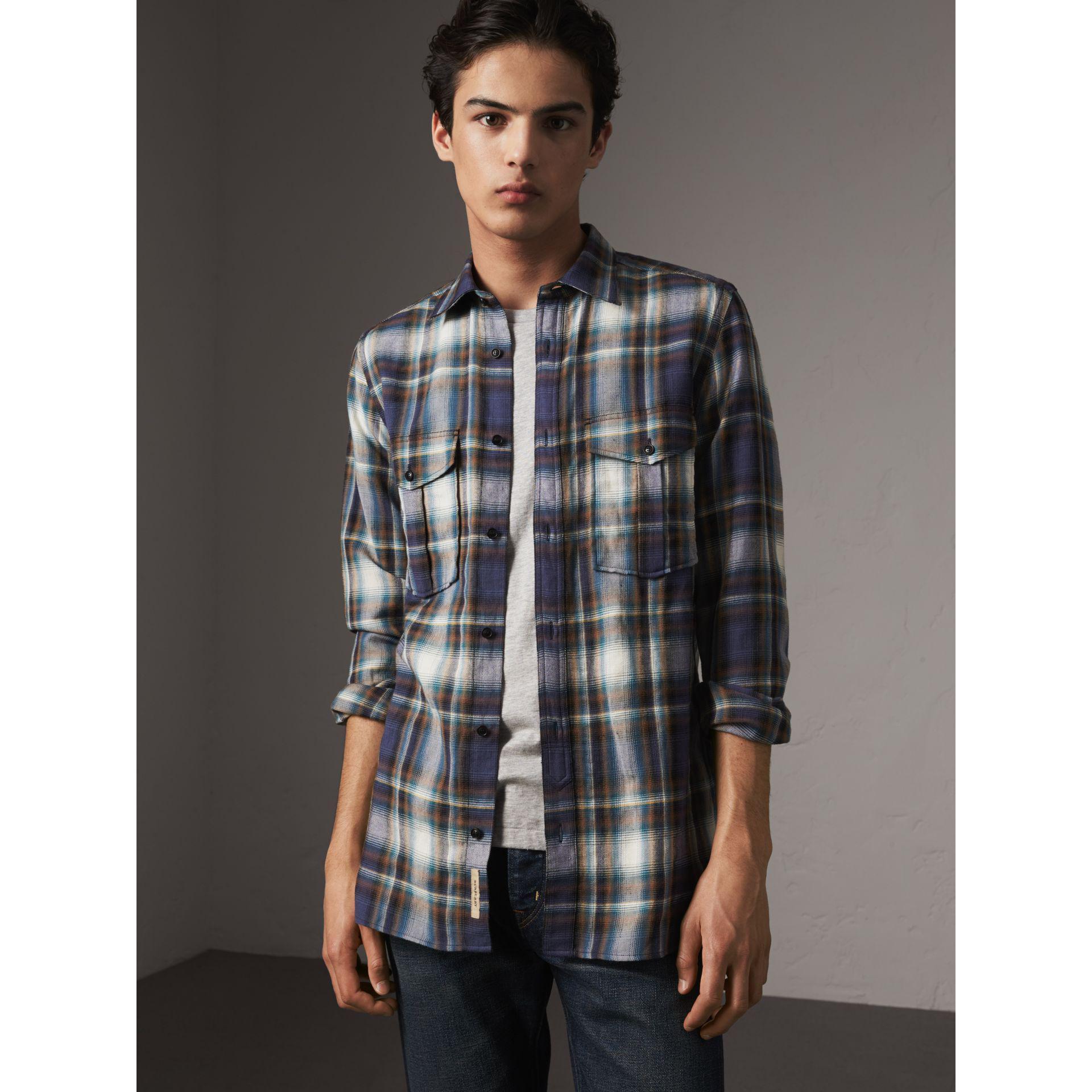 91e8442d Lyst - Burberry Check Wool Linen Cotton Flannel Shirt in Blue for Men