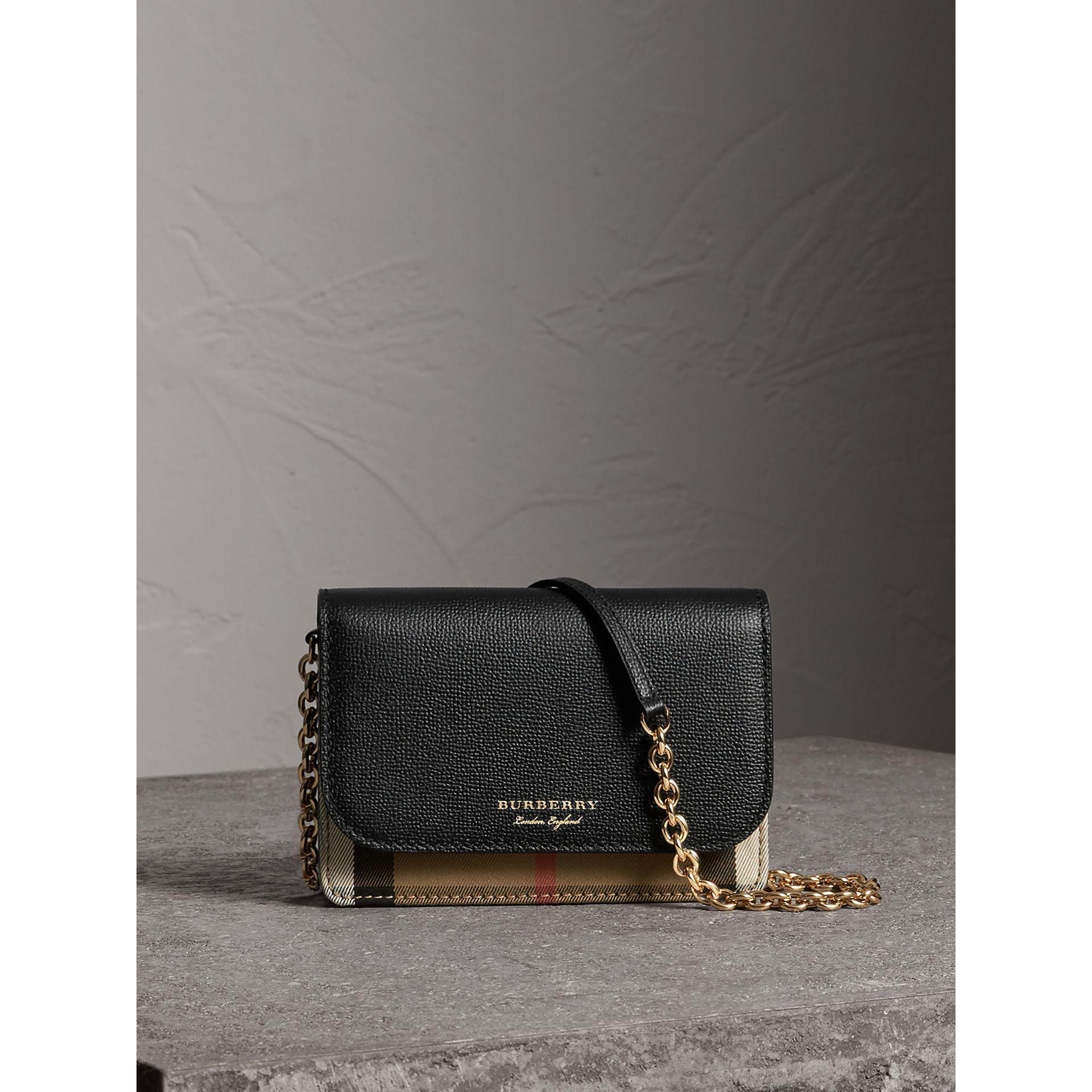 c747cc64358f Burberry Leather And House Check Wallet With Detachable Strap in ...
