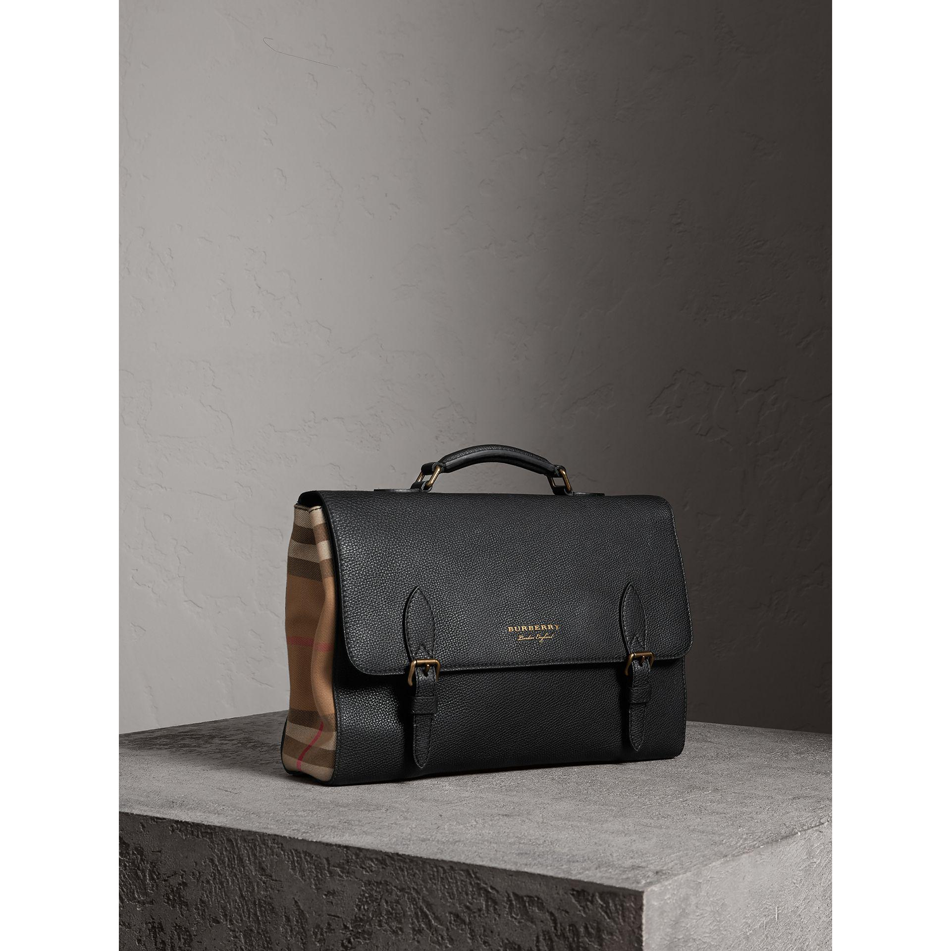 Lyst - Burberry Leather And House Check Satchel Black in Black for Men 38a54703c4