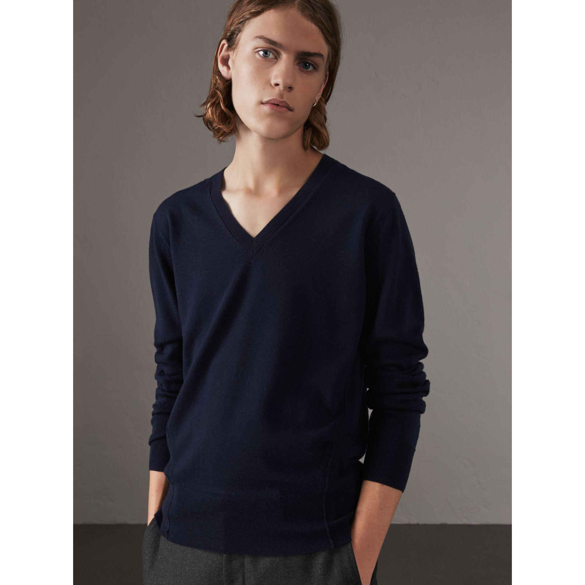 Get To Buy Cheap Price Outlet Shop Offer Check Detail Merino Wool Crew Neck Sweater - Grey Burberry 100% Authentic For Sale 2018 Newest Sale Real H2DzAq