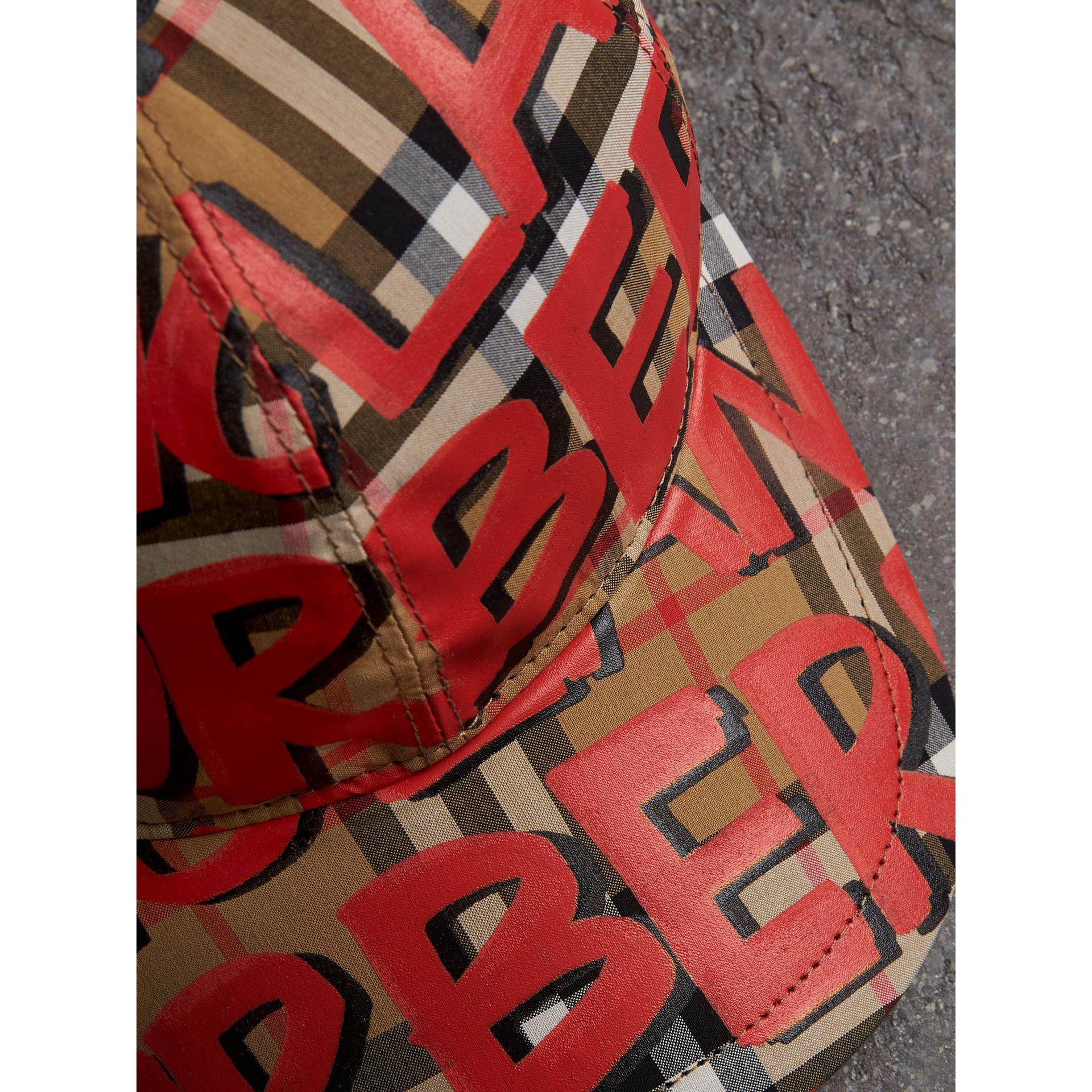 102ac82b97b Lyst - Burberry Graffiti Print Vintage Check Baseball Cap in Red