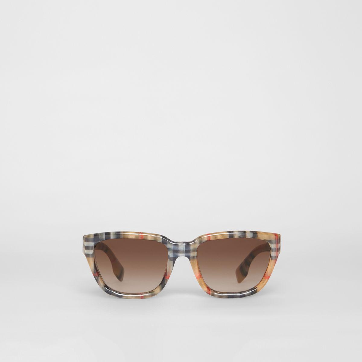 fabc822b925 Burberry. Women s Vintage Check Detail Square Frame Sunglasses