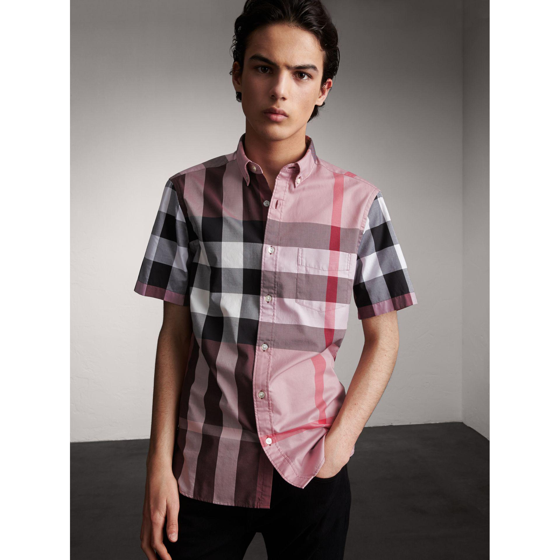 Burberry Check Cotton Short-sleeved Shirt Discount Perfect New Styles Cheap Online Free Shipping Official pWfEO19A1d