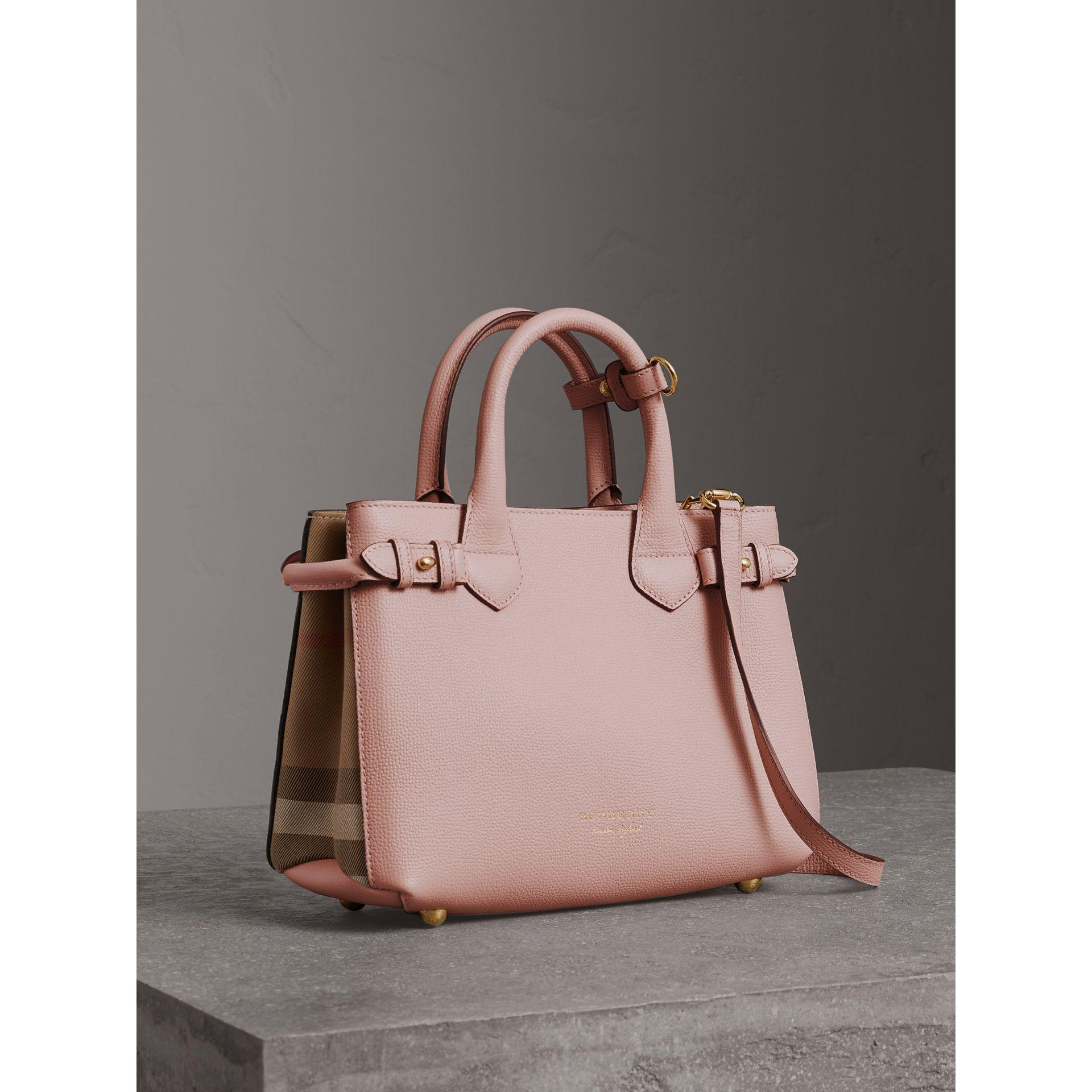 06f642502438 Lyst - Burberry The Small Banner In Leather And House Check Pale Orchid