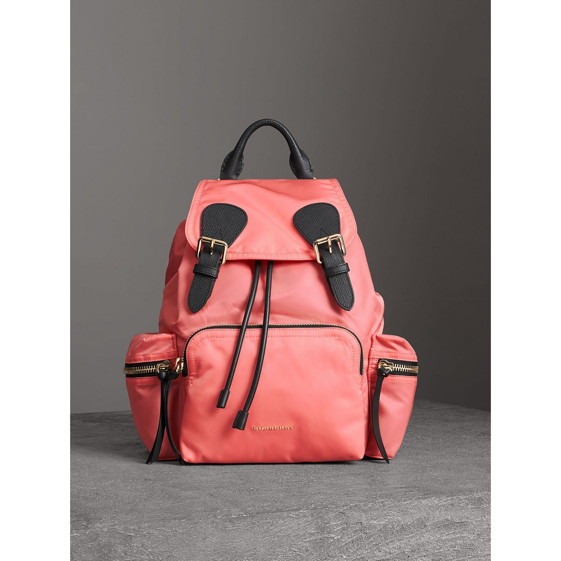 4b16e9807322 Lyst - Burberry The Rucksack Medium Backpack In Bright Coral Nylon ...