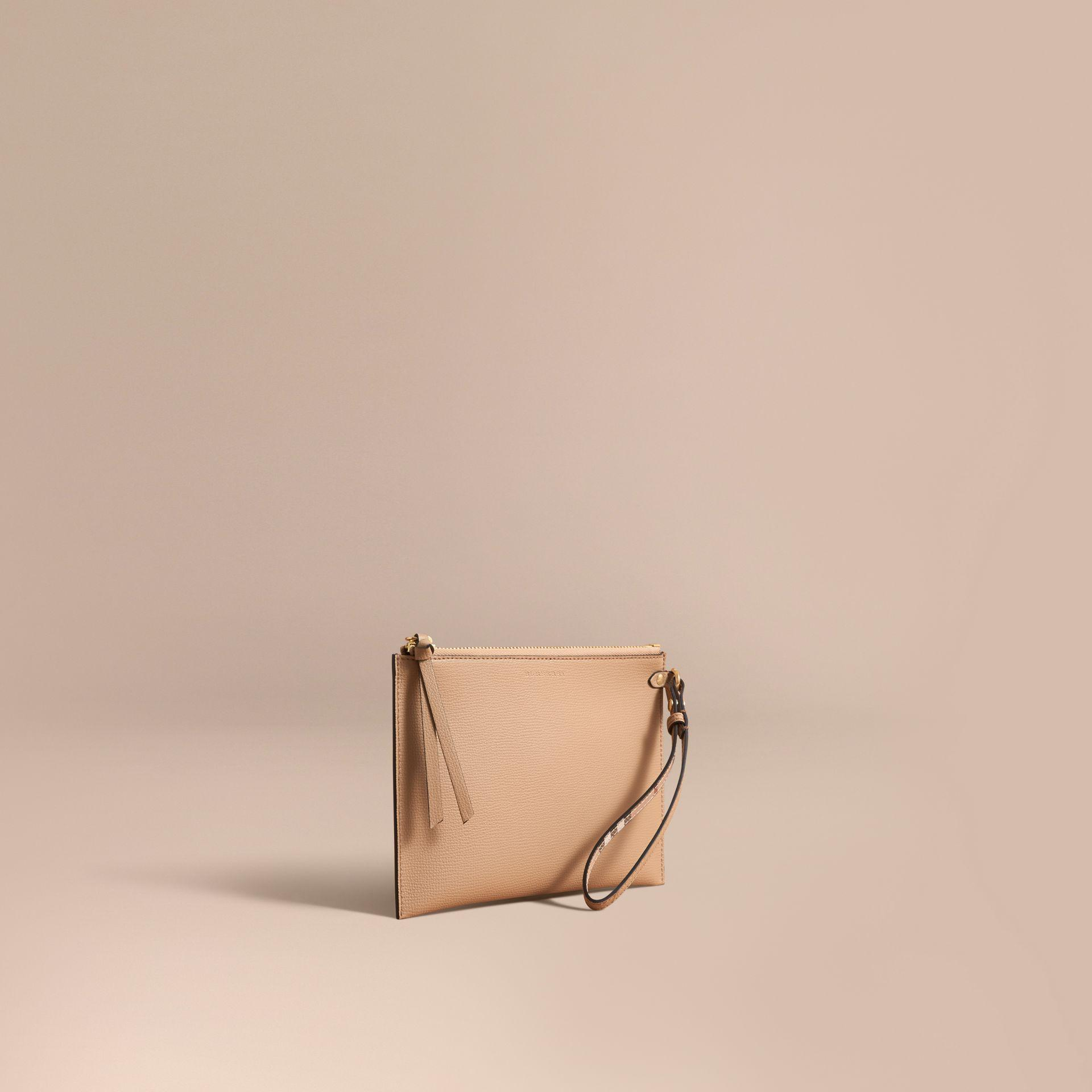 f53b776857da Lyst - Burberry Haymarket Check And Leather Clutch Bag in Natural