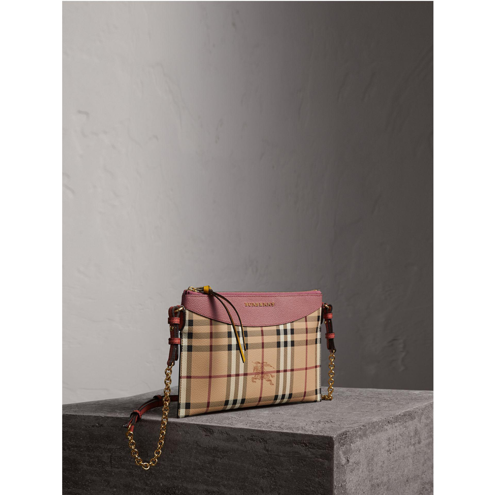 80a7ef17c62 Burberry Haymarket Check And Two-tone Leather Clutch Bag Dusty Pink ...