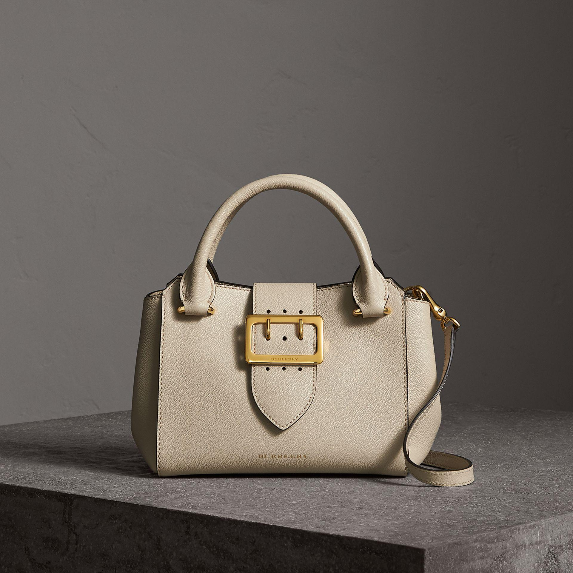 9e14c7b544ce Lyst - Burberry The Small Buckle Tote In Grainy Leather Limestone in ...