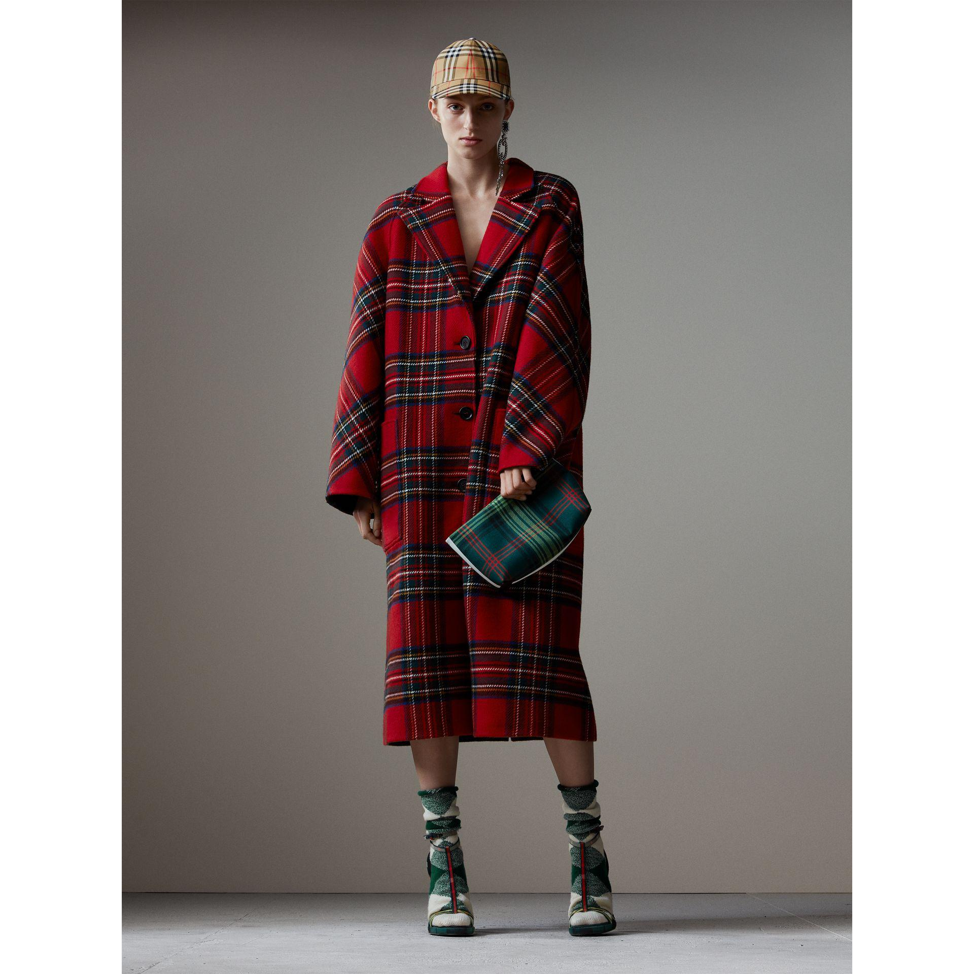 burberry tartan double faced wool cashmere oversized coat in red lyst. Black Bedroom Furniture Sets. Home Design Ideas
