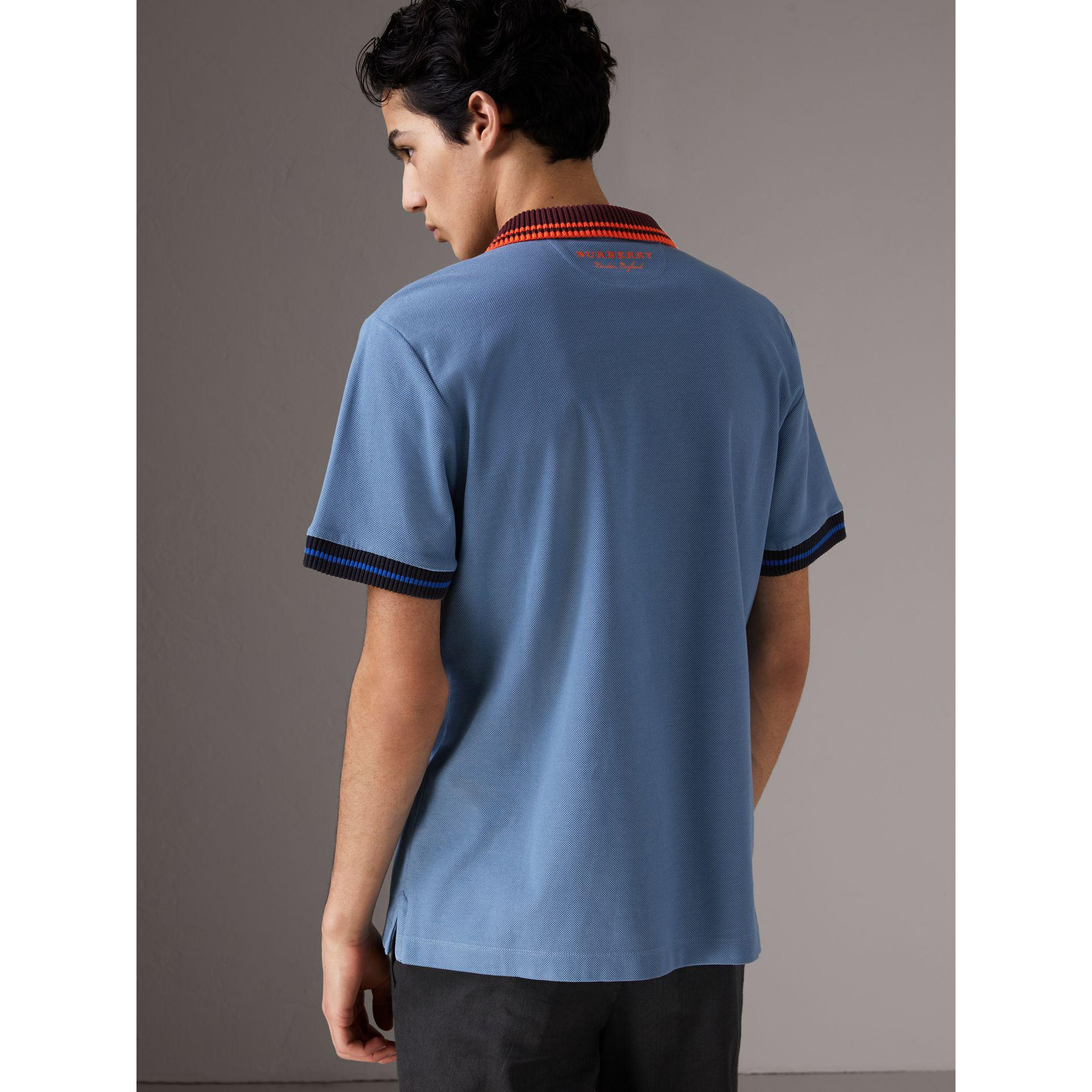 Outlet Pre Order Burberry Two-tone Stripe Knitted Detail Cotton Polo Shirt - Blue Wear Resistance Best Supplier With Mastercard Cheap Price Buy Cheap Visit rg9aDx2