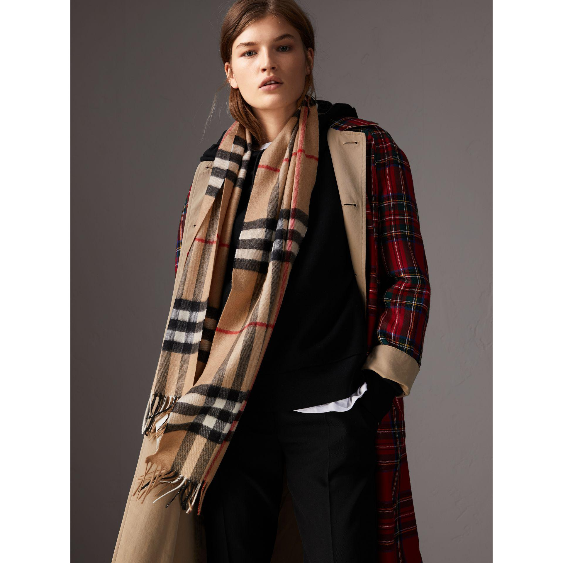 7e9c6eb8955ea ... real burberry natural heritage check classic cashmere scarf lyst. view  fullscreen 07510 e7cd8