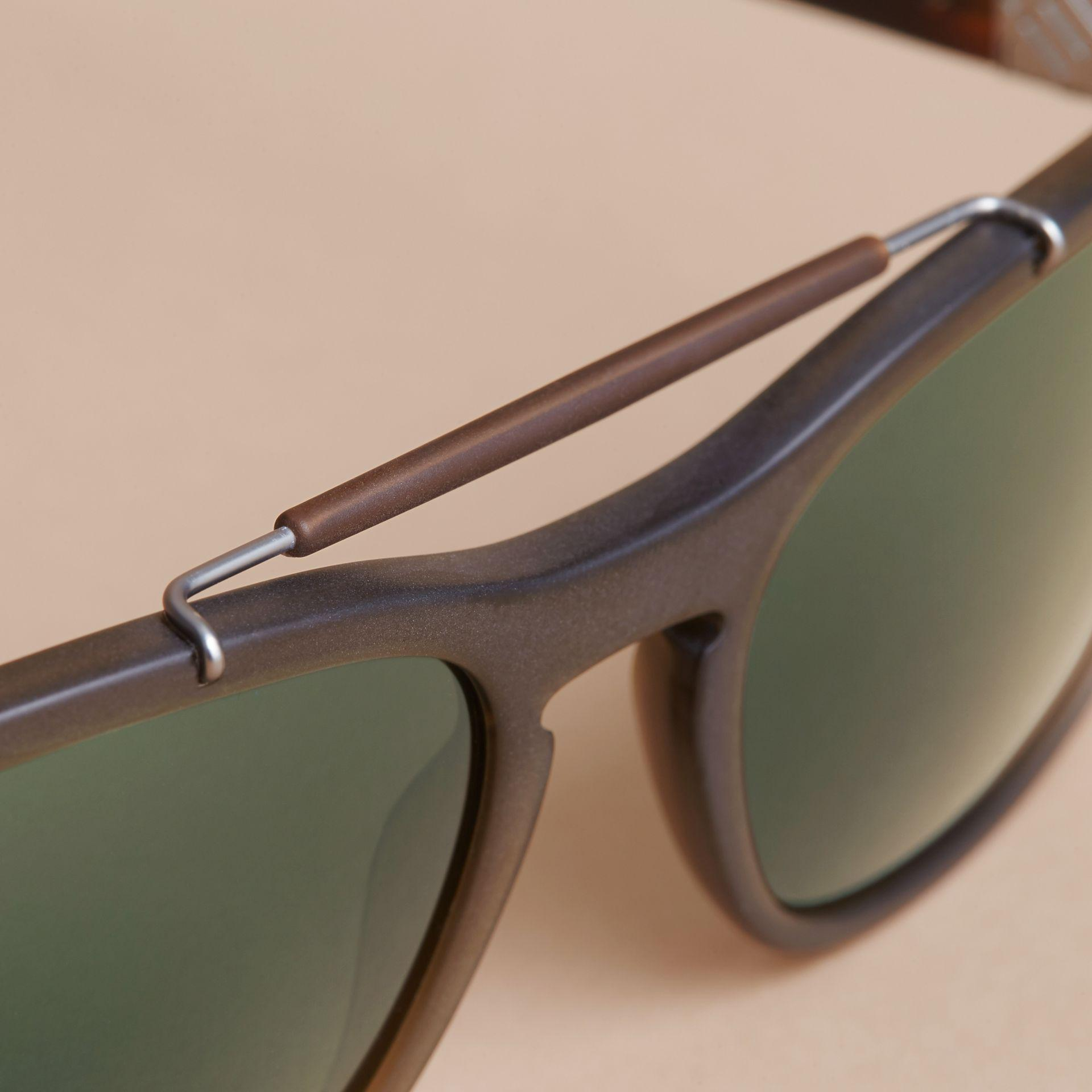 8732f9a2cfe4 Lyst - Burberry Top Bar Square Frame Sunglasses Olive in Green for Men