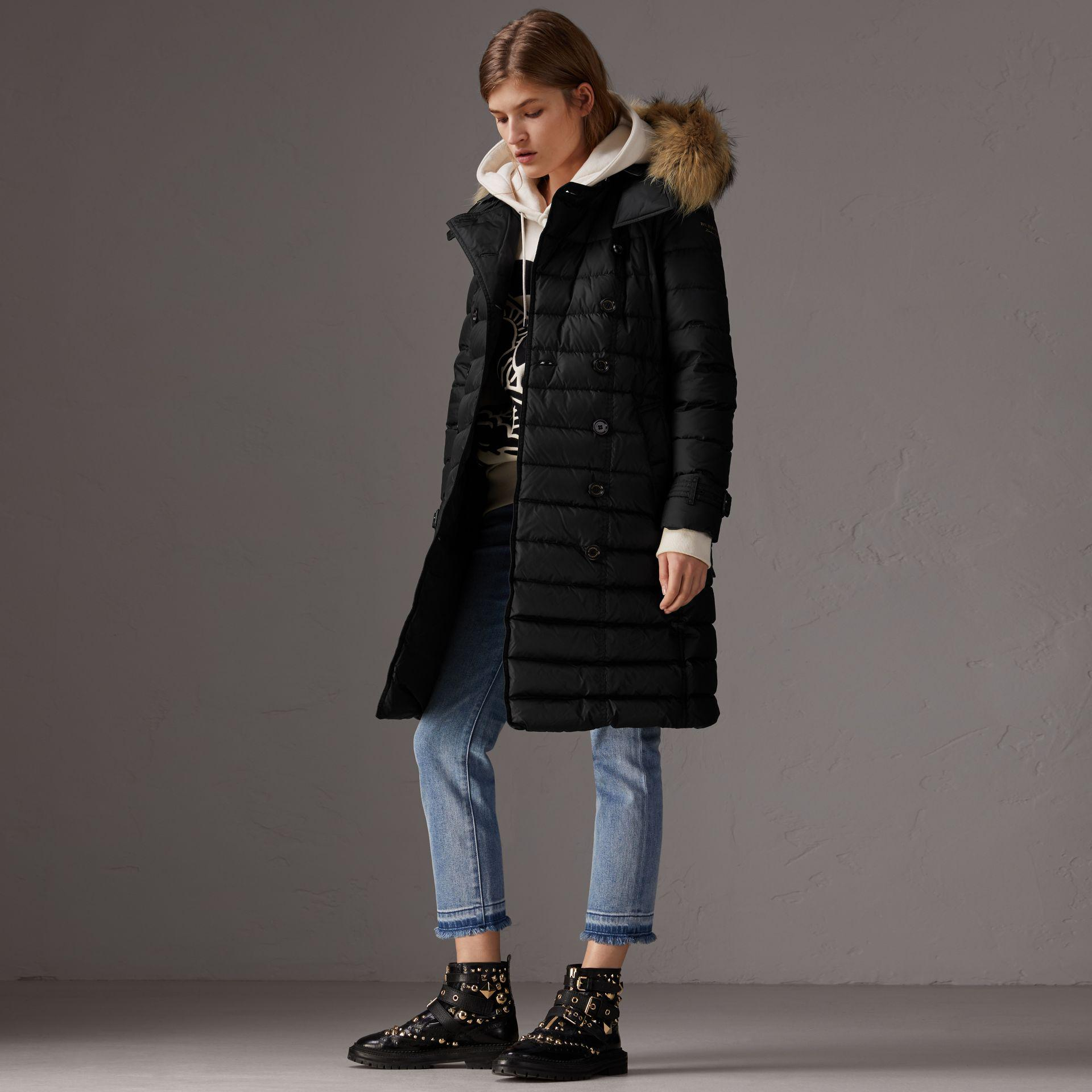 5098a42d95e623 Burberry Detachable Hood Fur Trim Down-filled Puffer Coat in Black ...