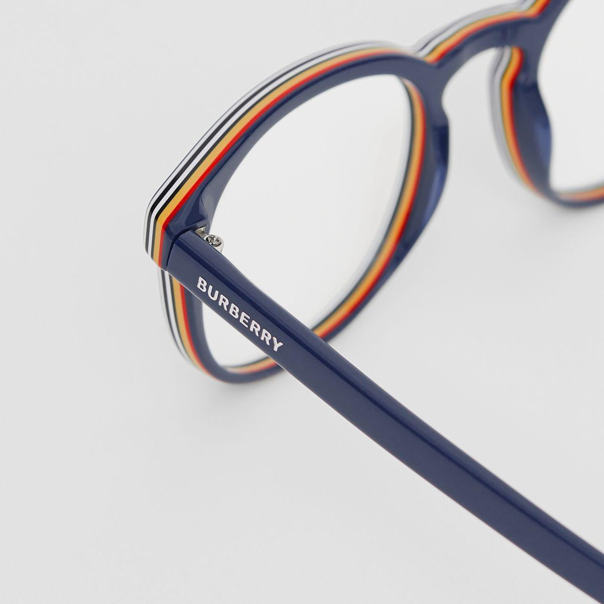 d485d5ecb58 Burberry - Blue Icon Stripe Detail Round Optical Frames for Men - Lyst.  View fullscreen