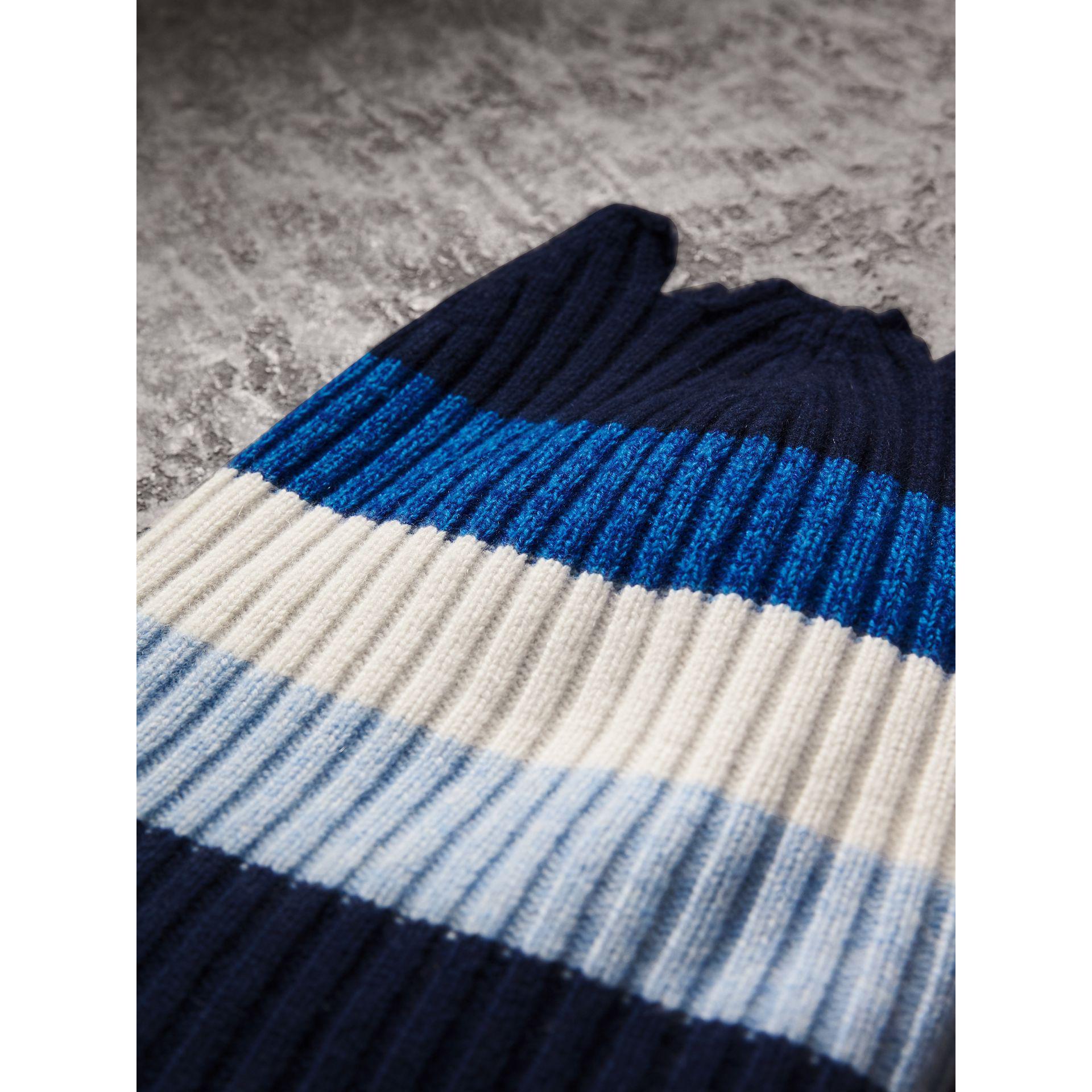cashmere striped beanie - Blue Burberry frRMDA2Up