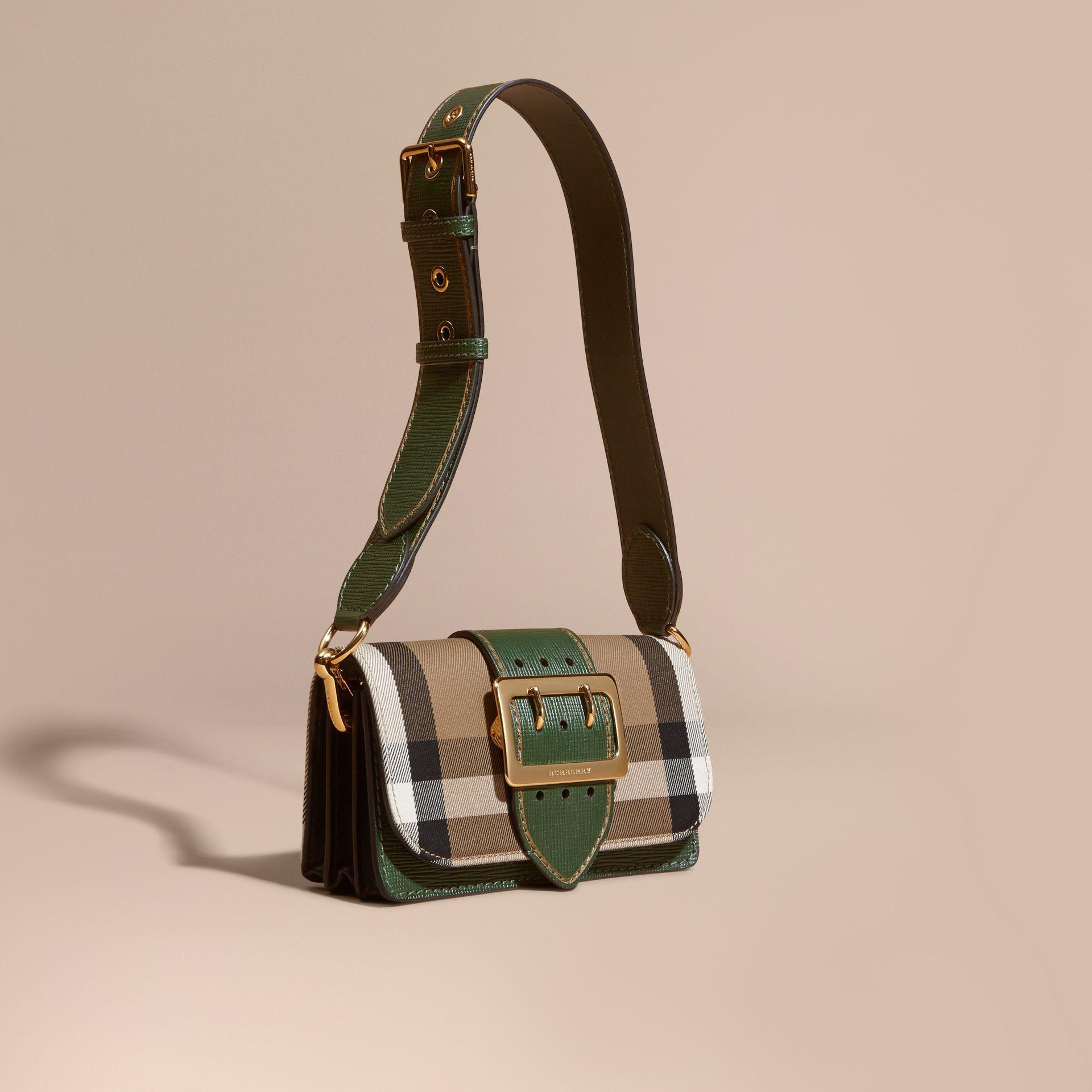 Lyst - Burberry Small Buckle House Check And Leather Shoulder Bag in ... 36a0cd2e80