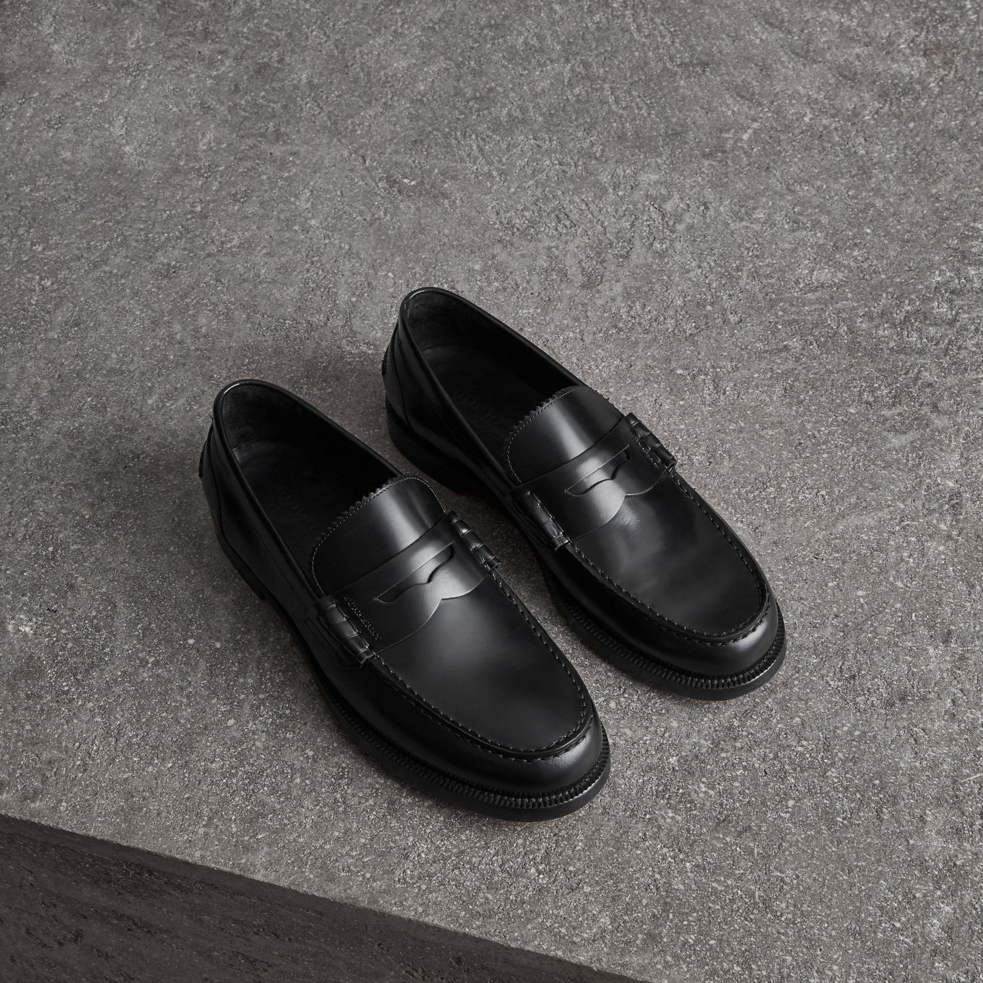 14b28670e45 Lyst - Burberry Leather Penny Loafers in Black for Men