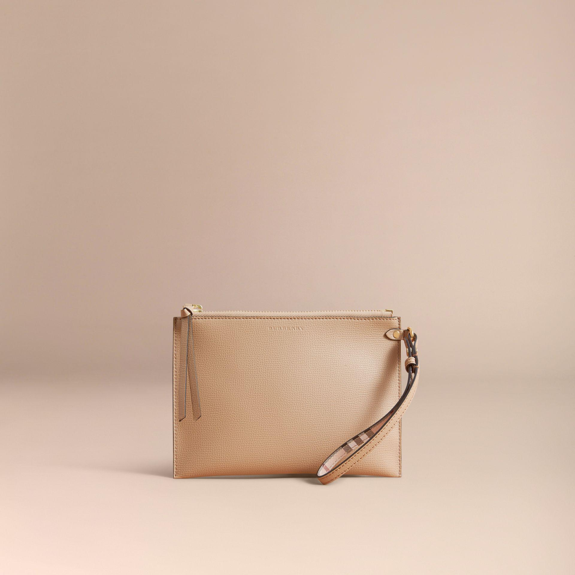 76e28e0966aa Lyst - Burberry Haymarket Check And Leather Clutch Bag in Natural