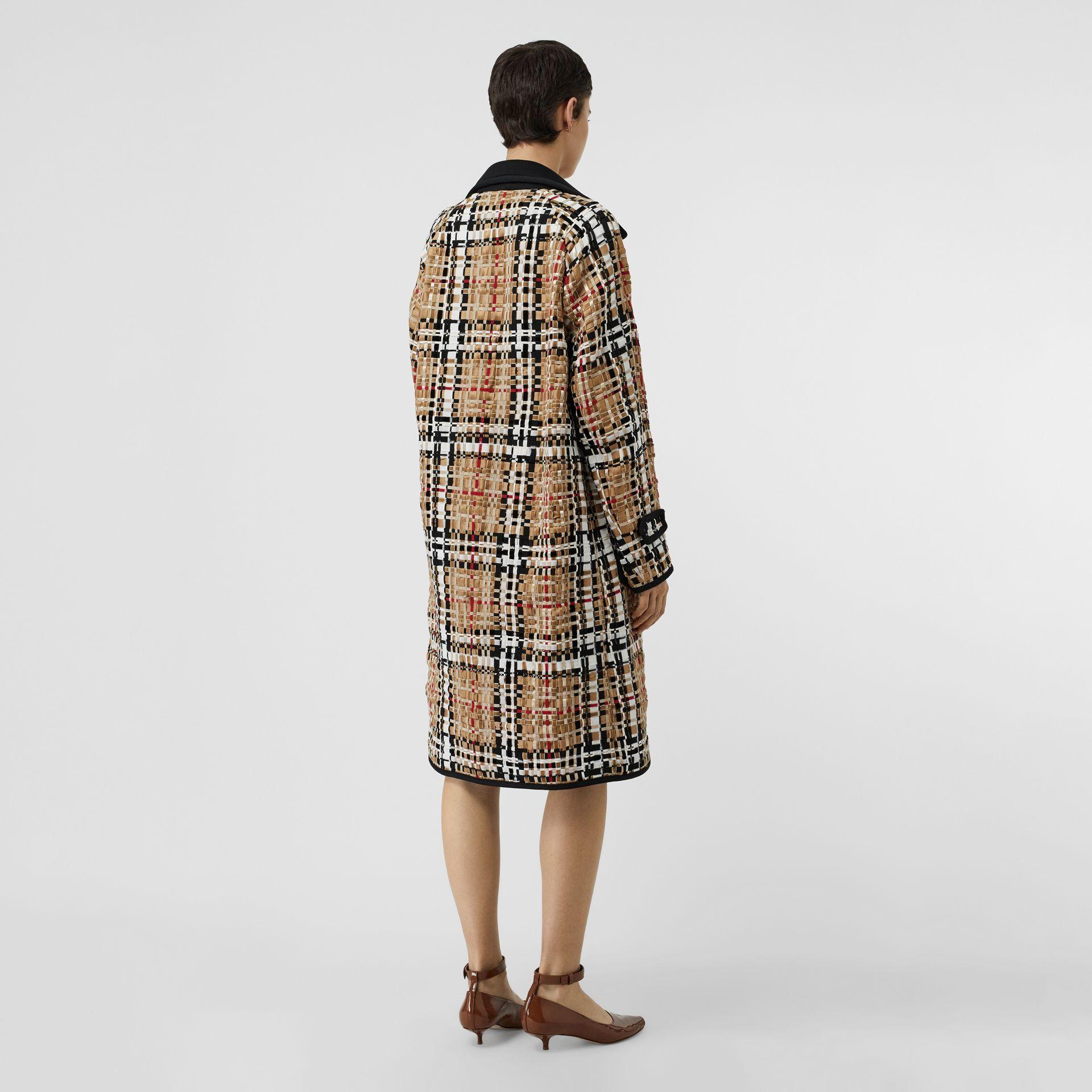 6f193ca03c5 Burberry Check Basketweave Ribbon Coat in Natural - Lyst