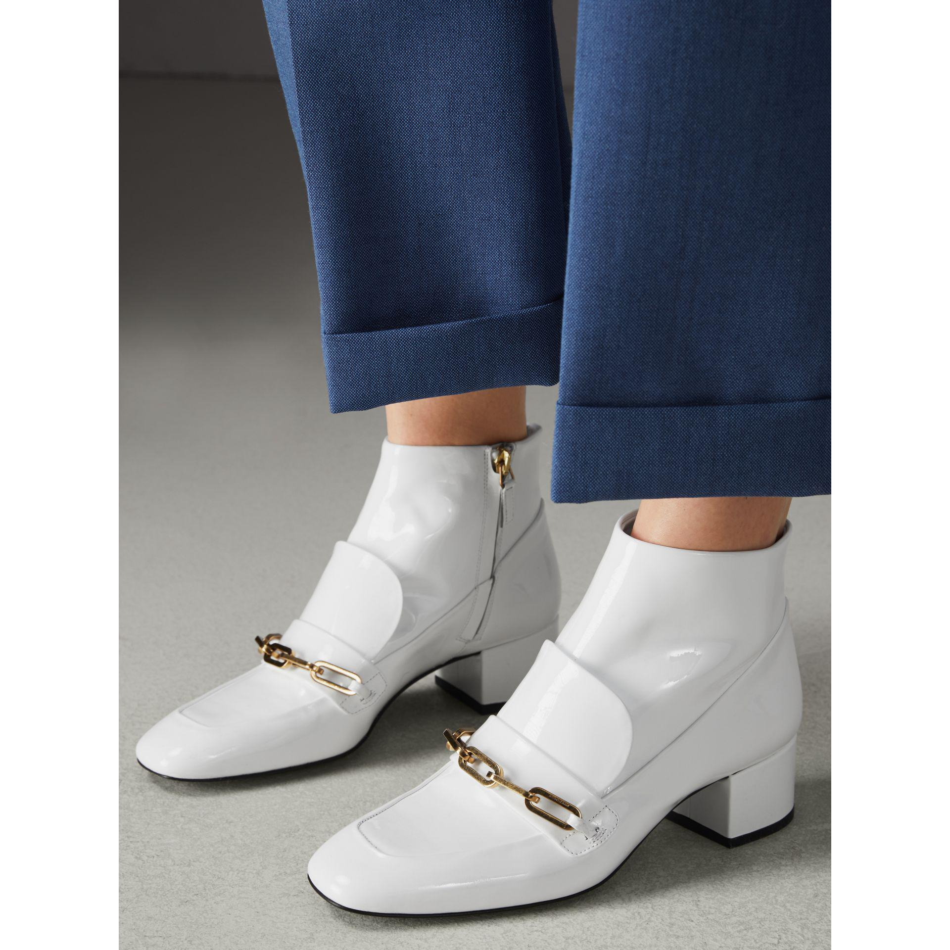 Buckle Ankle Lyst Burberry In Boots Link White SqfBEwFxf