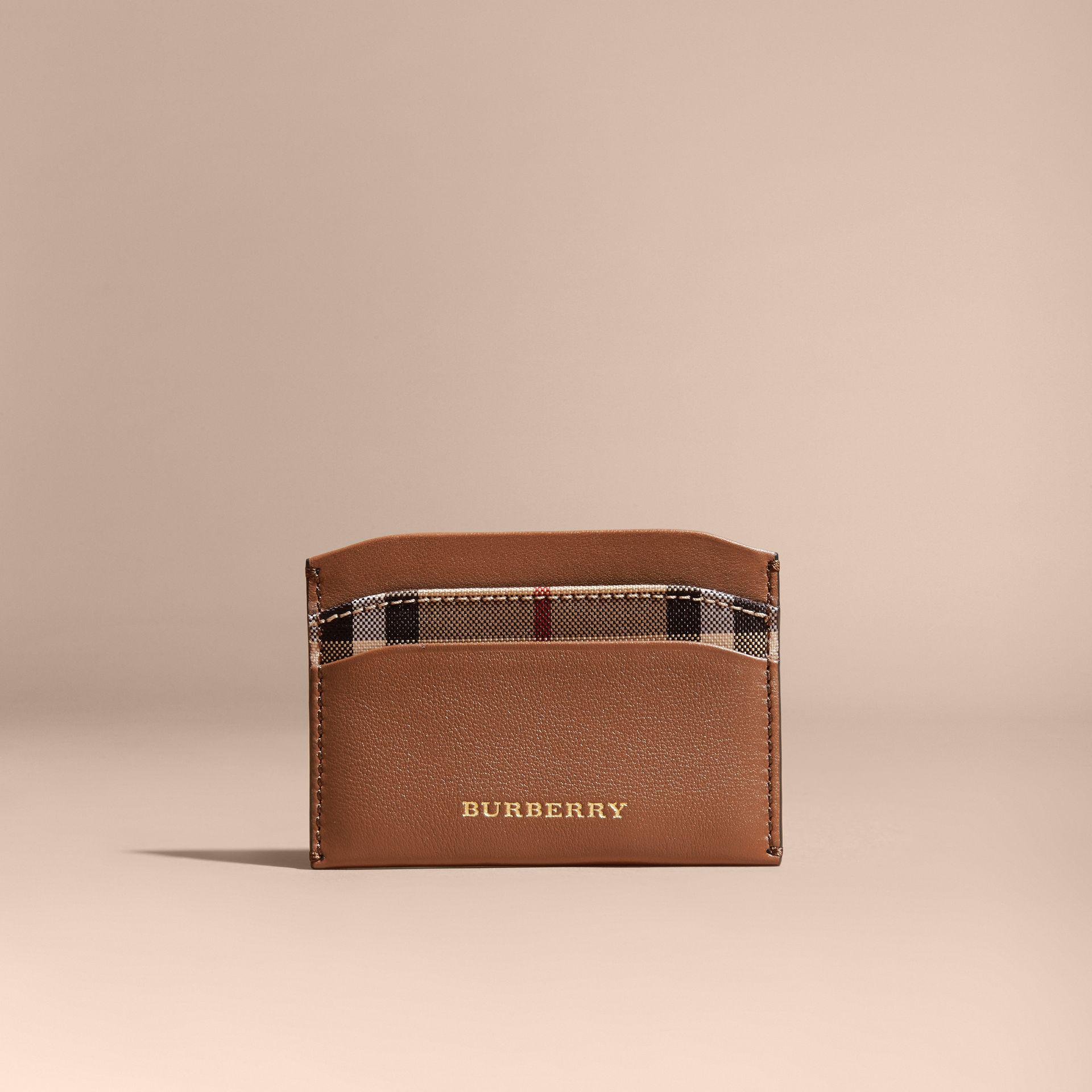 Lyst - Burberry Check And Leather Card Case Tan