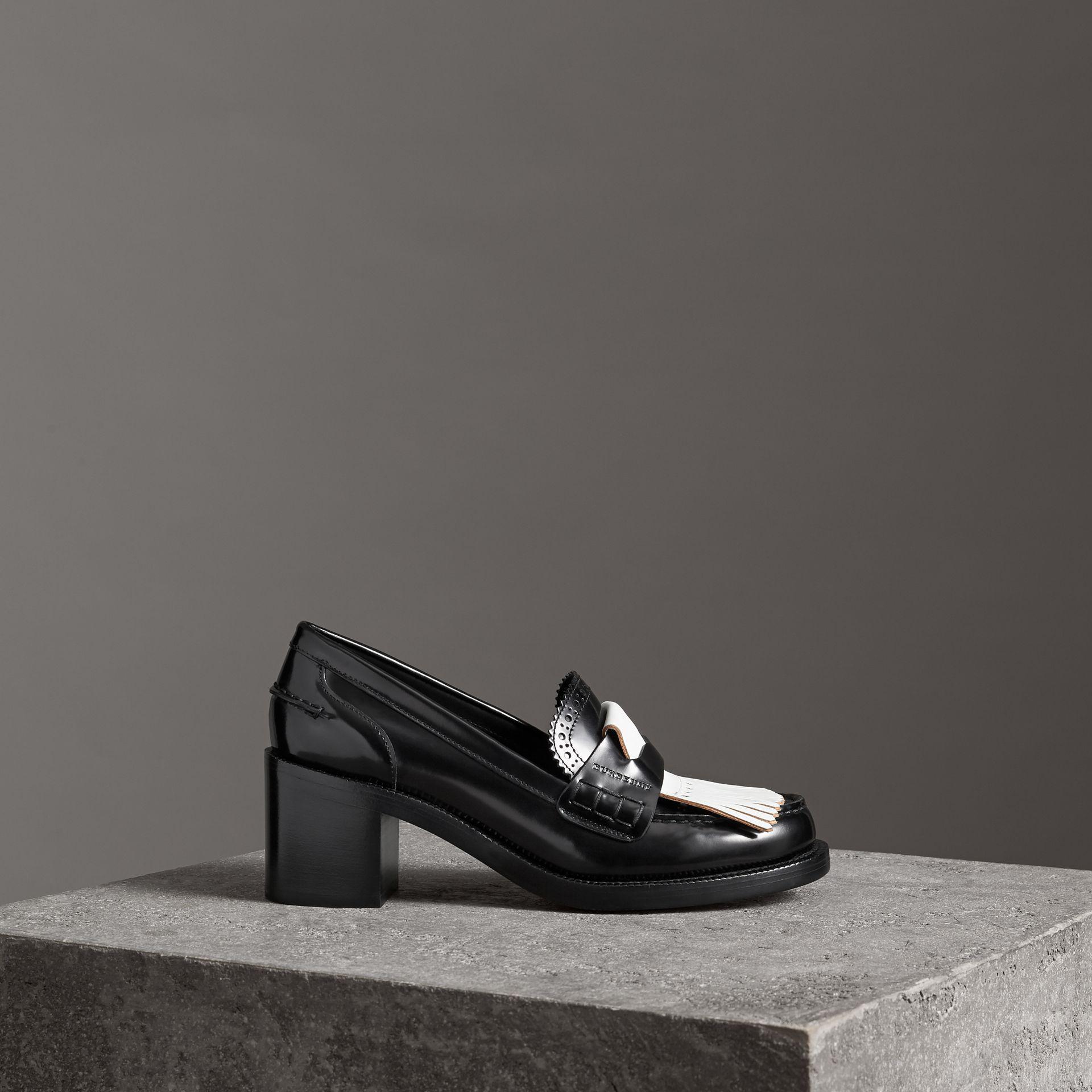4b8fbeedc2bc9 Lyst - Burberry Contrast Kiltie Fringe Leather Block-heel Loafers in ...