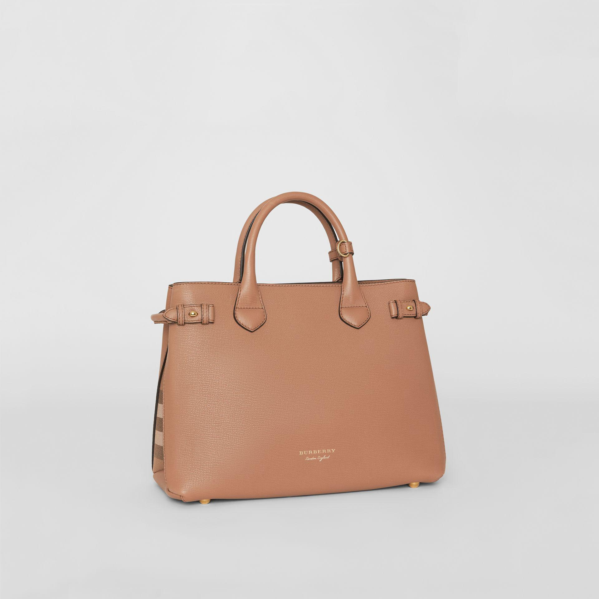 0a9f36c611b0 Burberry The Medium Banner In Leather And House Check Dark Sand - Lyst