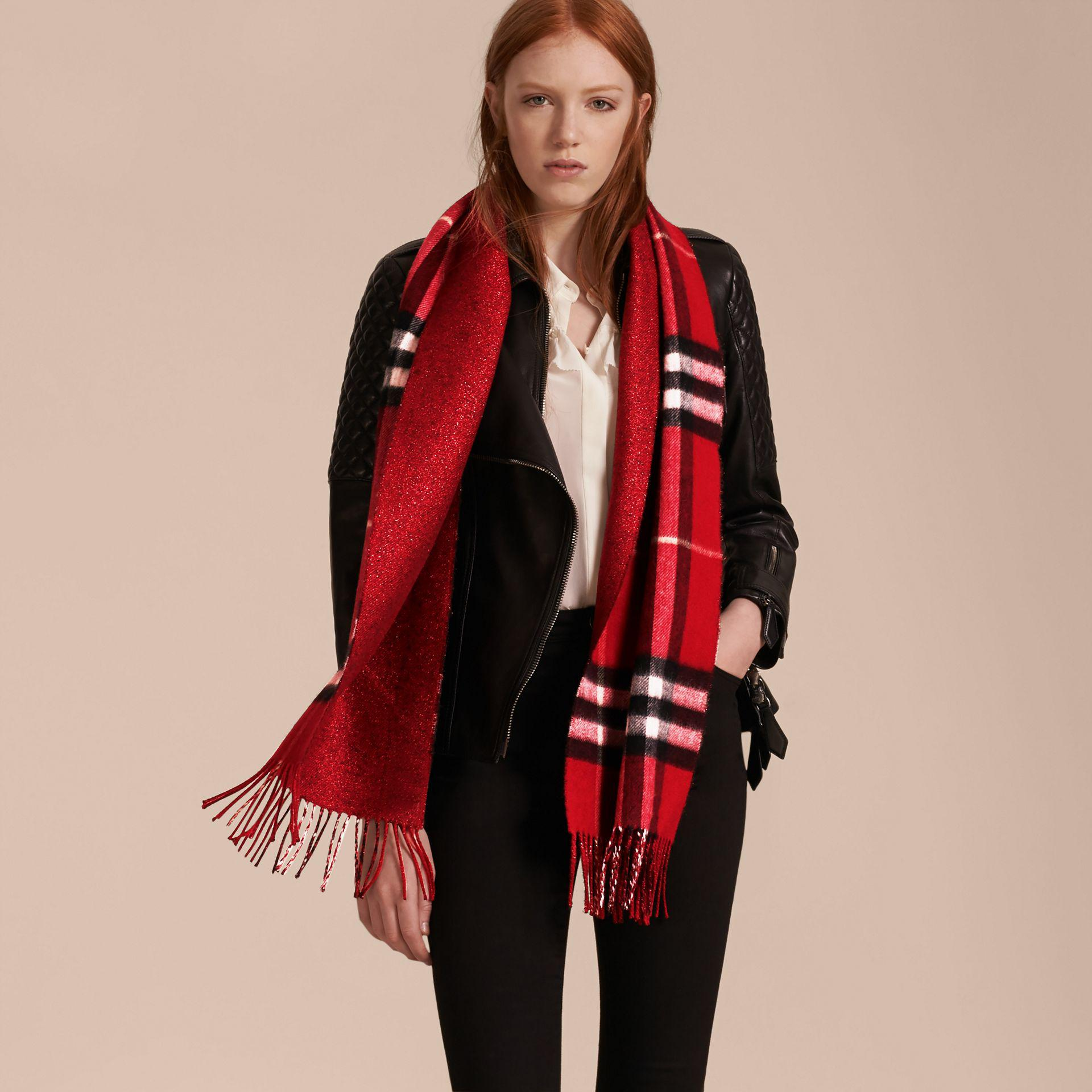 7ed6b55d55d Lyst - Burberry Reversible Metallic Check Cashmere Scarf Parade Red