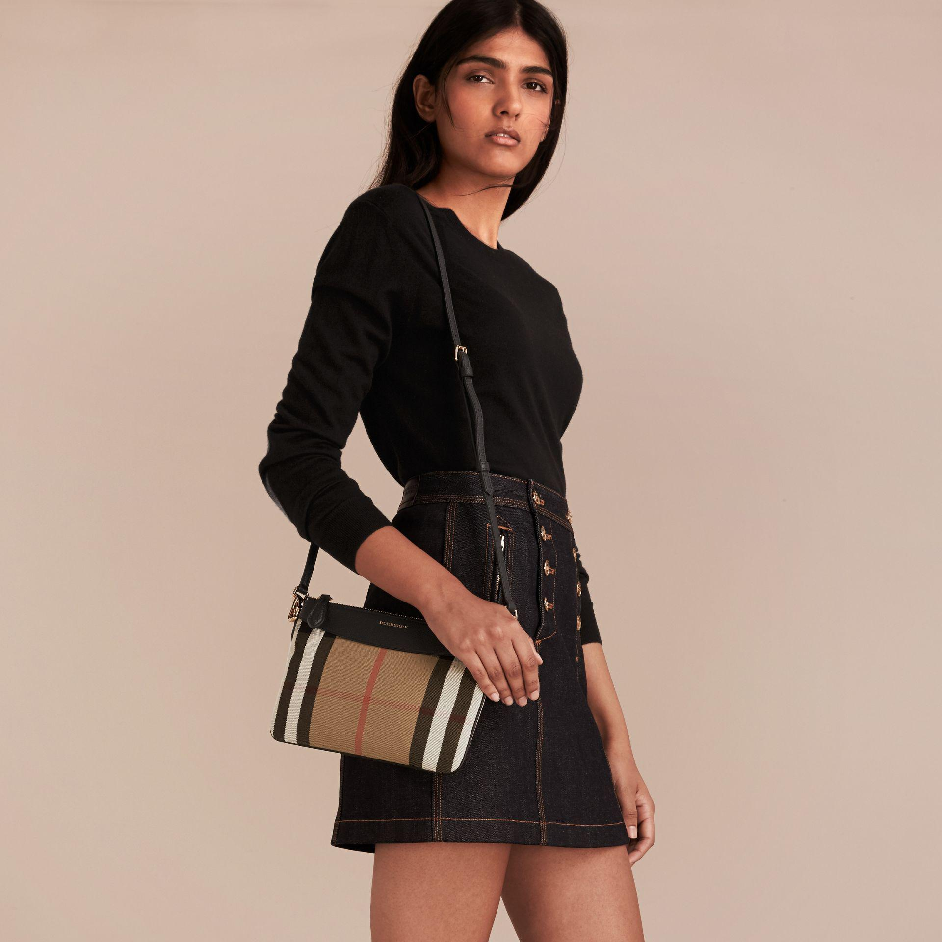 Lyst - Burberry House Check And Leather Clutch Bag in Black f5fe12c0da8e8