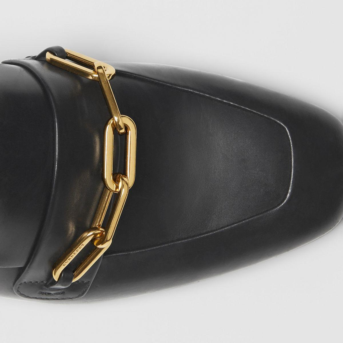d9d1963a86c Burberry - Black Link Detail Leather Slingback Loafers - Lyst. View  fullscreen